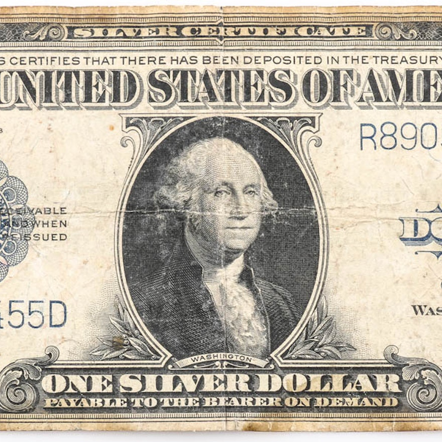 Series Of 1923 Blue Seal One Dollar Silver Certificate Ebth