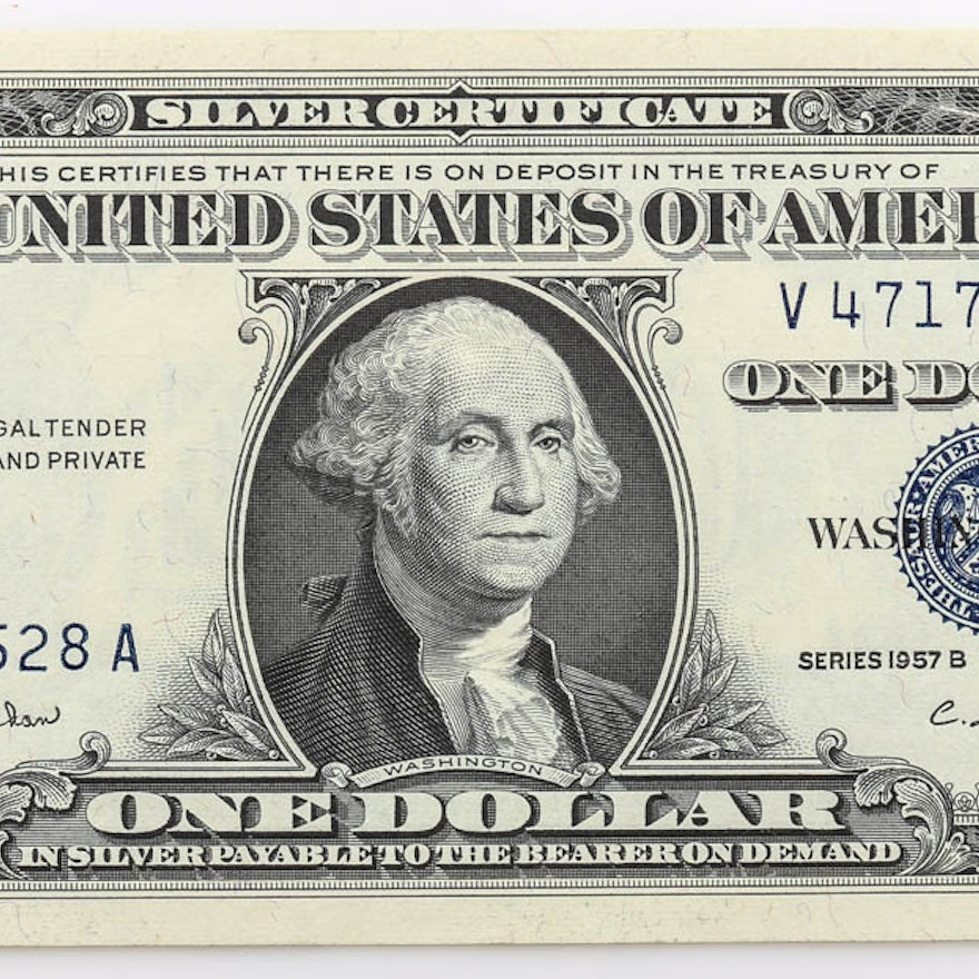 1957 B $1 Silver Certificate with Blue Seal : EBTH