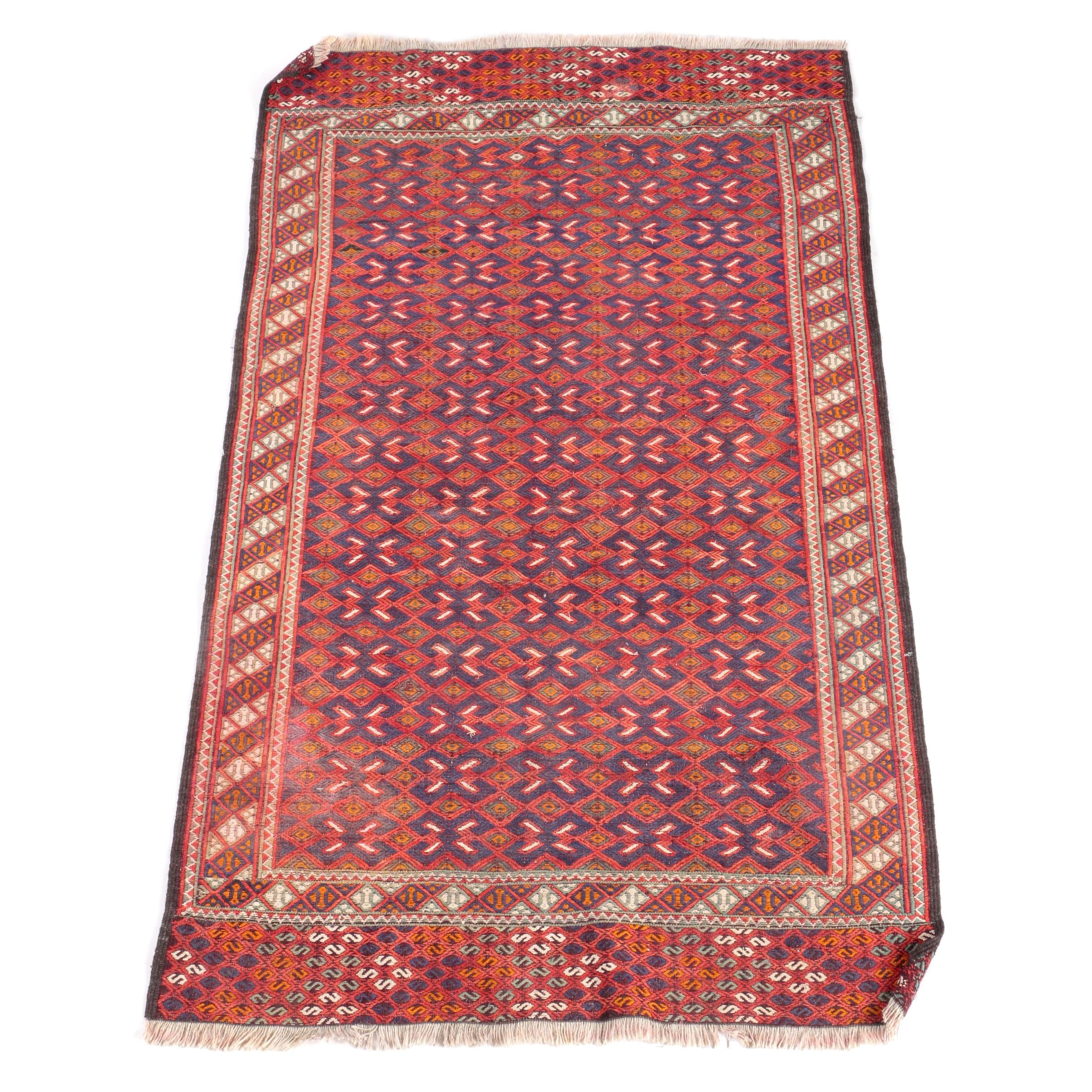 Handwoven and Embroidered Persian Baluch Area Rug