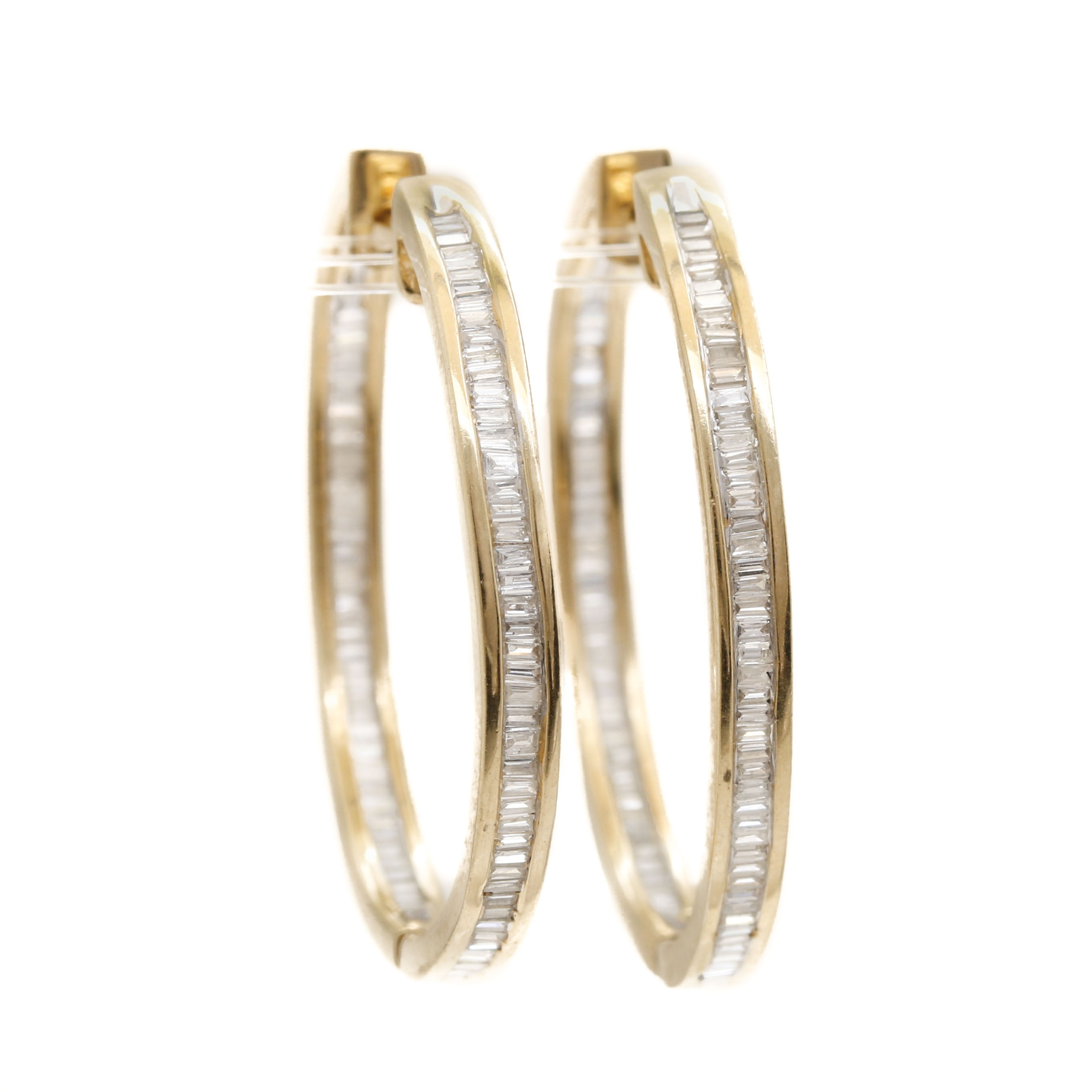 14K Yellow Gold 1.23 CTW Diamond In and Out Hinged Hoops