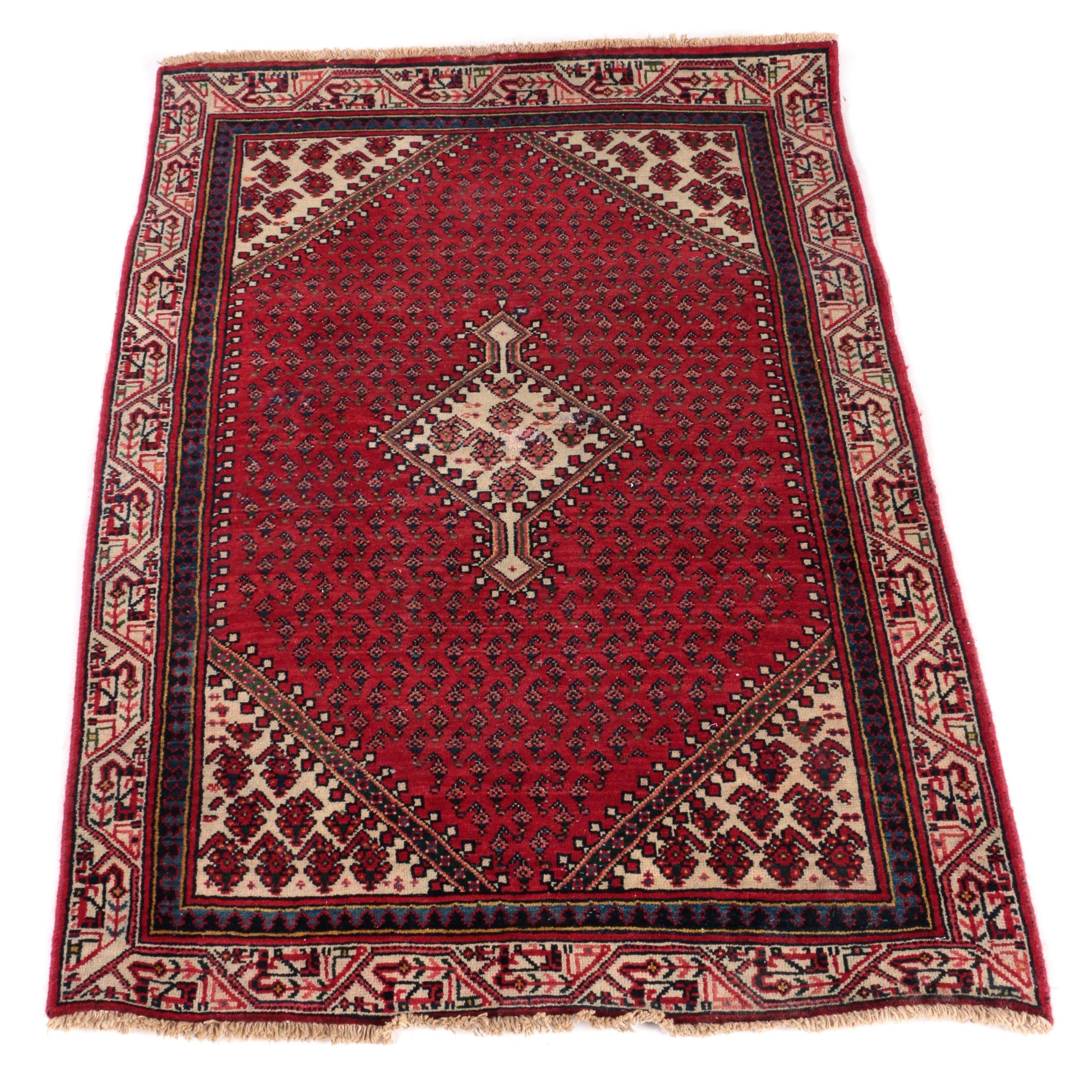 Hand-Knotted Persian Mir-Serabend Accent Rug