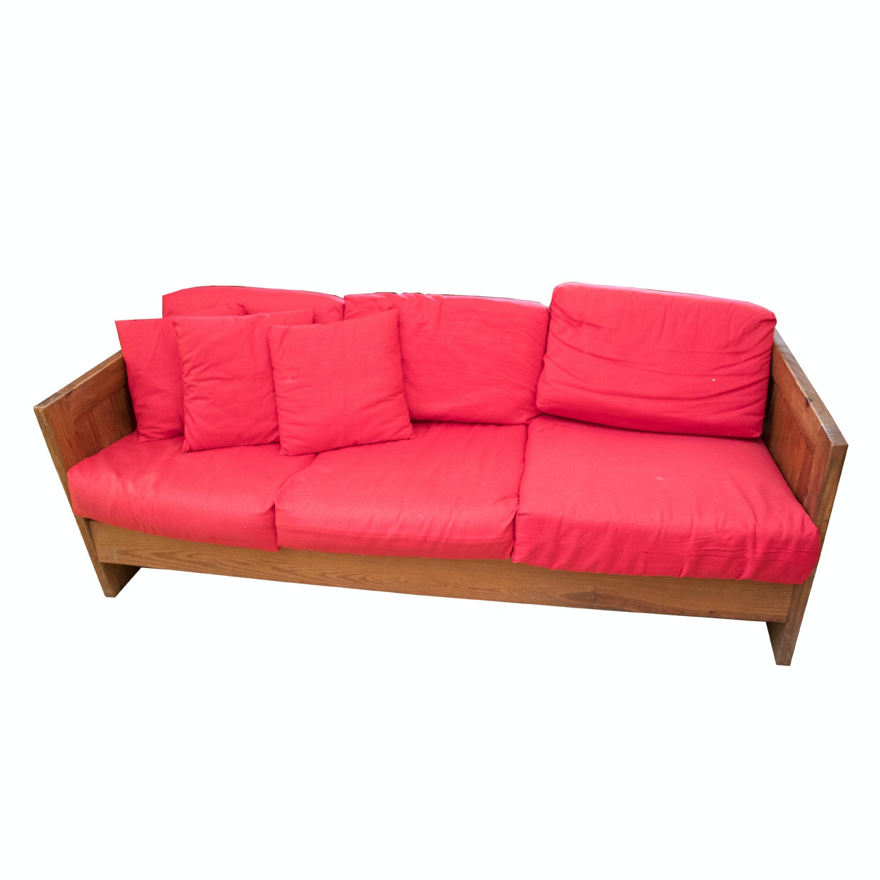 Vintage Wood-Framed Brady Sofa