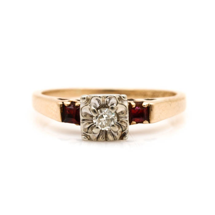 14K Two Tone Gold Diamond and Ruby Ring