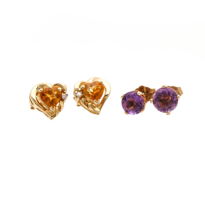 14K Yellow Gold Citrine, Diamond, and Amethyst Earring Selection