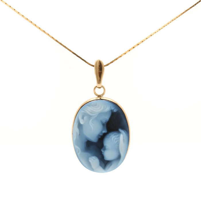14K Yellow Gold Onyx Cameo Pendant Necklace
