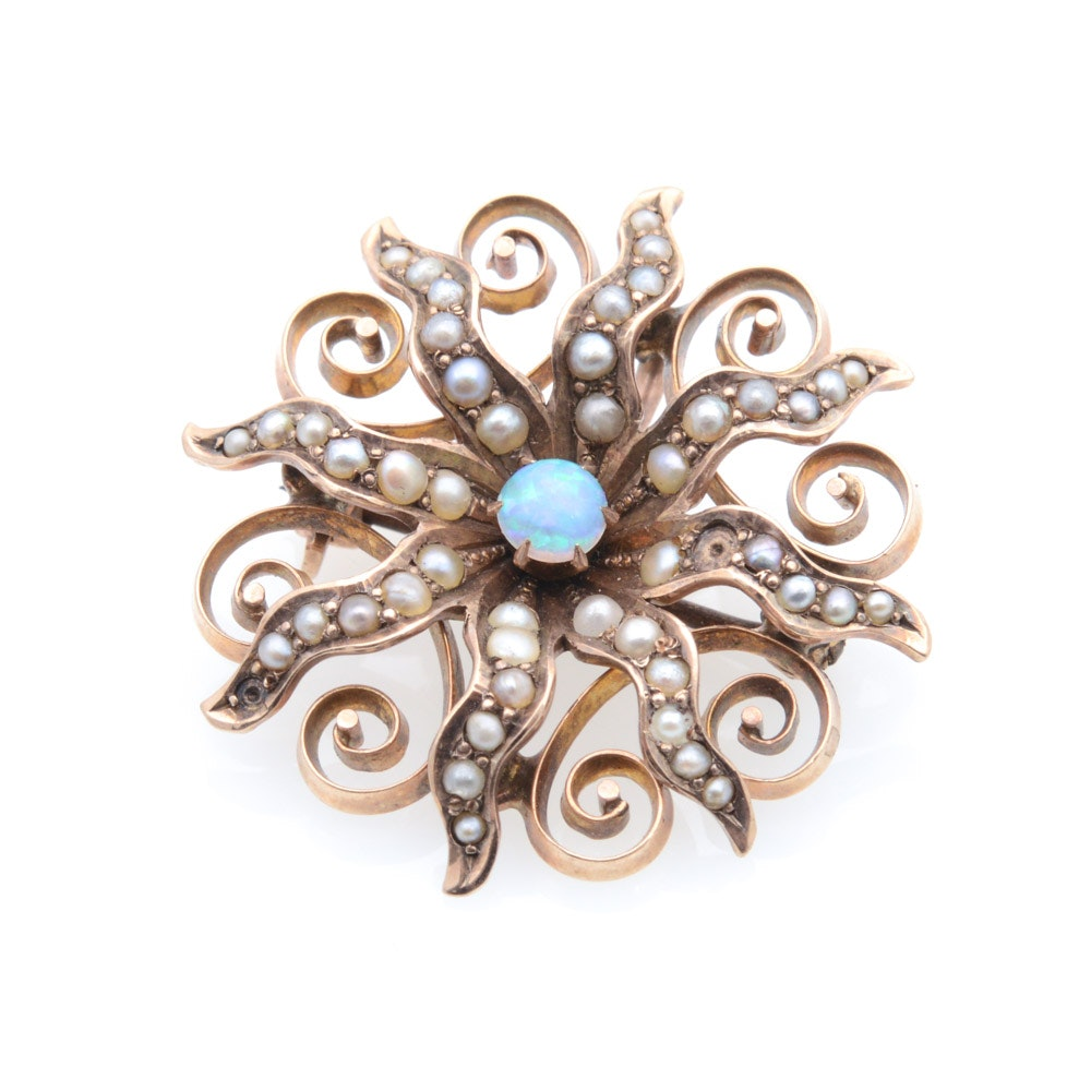 Vintage 10K Yellow Gold Opal and Seed Pearl Pendant Brooch