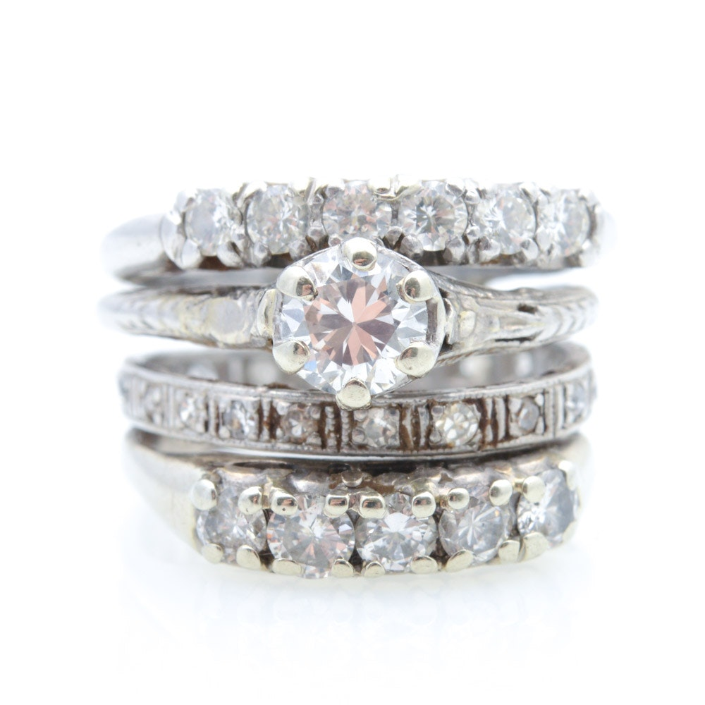 Platinum and 14K White Gold 1.64 CTW Diamond Fused Rings