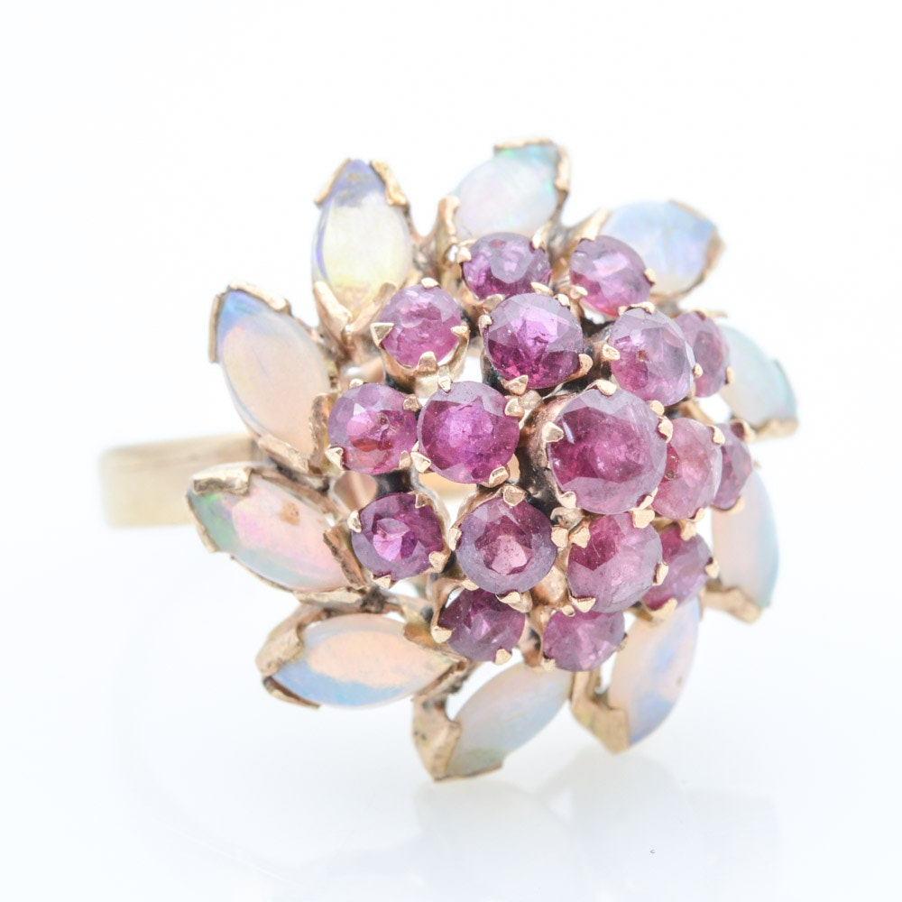 18K Yellow Gold Ruby and Opal Cocktail Ring