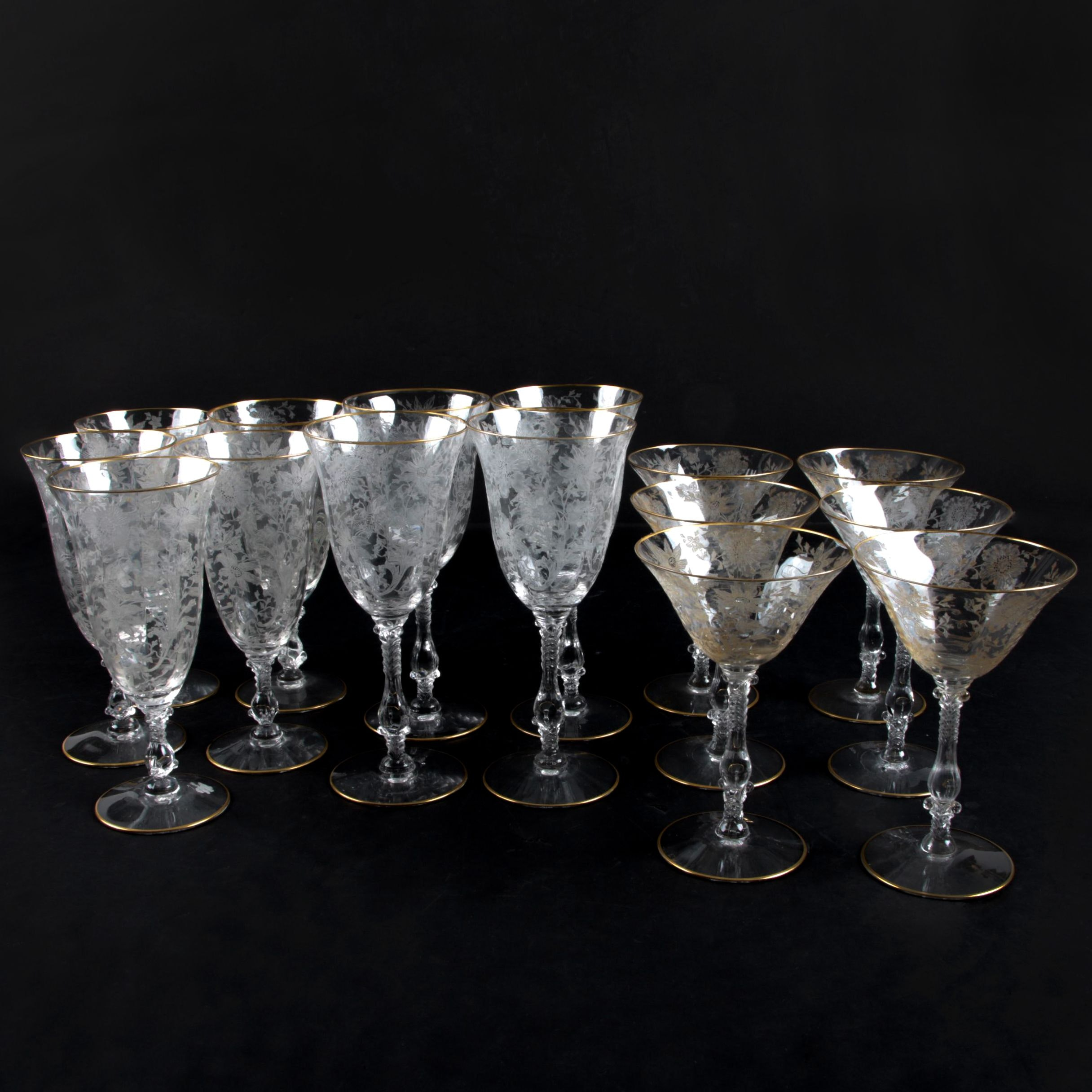 Etched Floral Glass Stemware with Gilt Trim