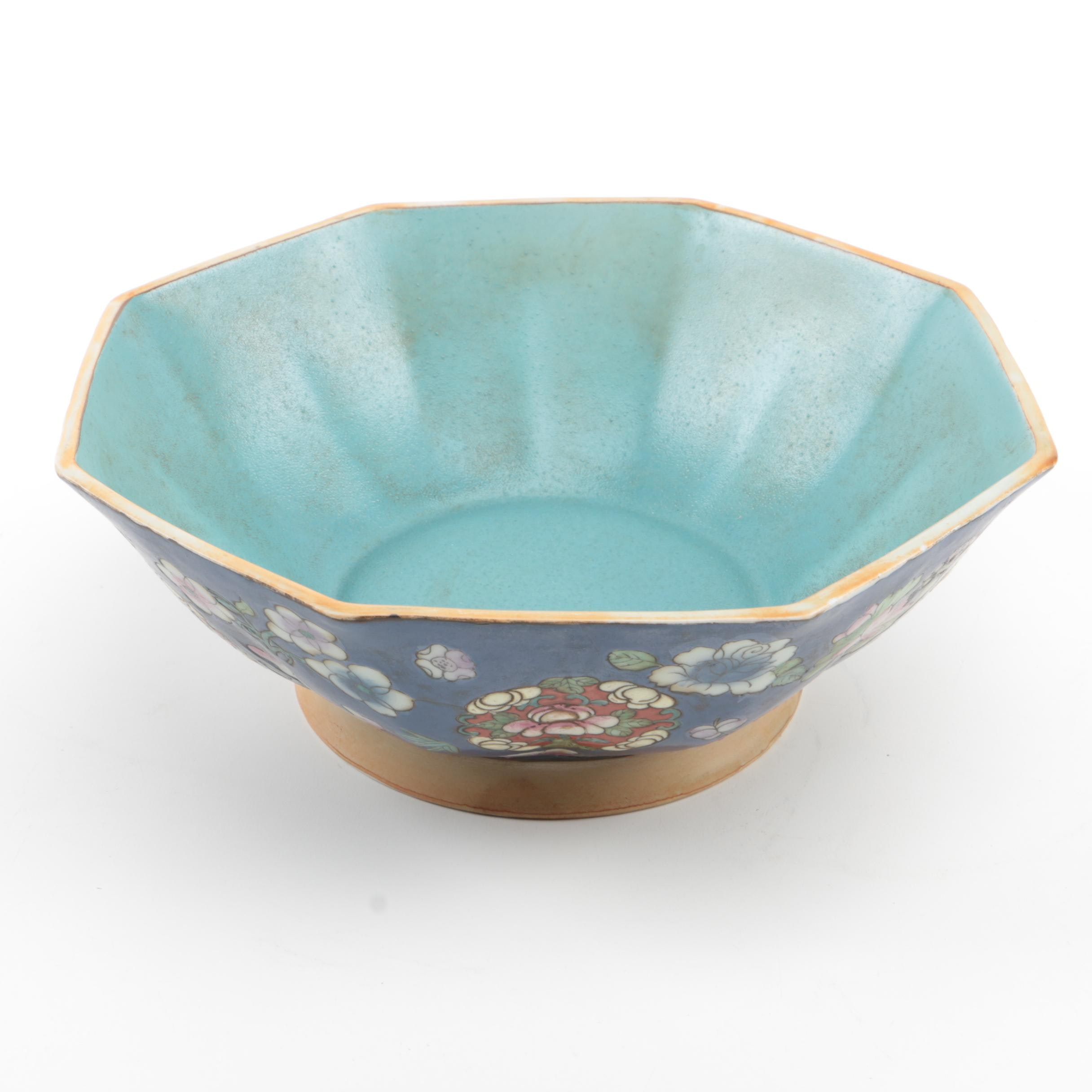 Chinese Hand-Painted Porcelain Octagonal Bowl