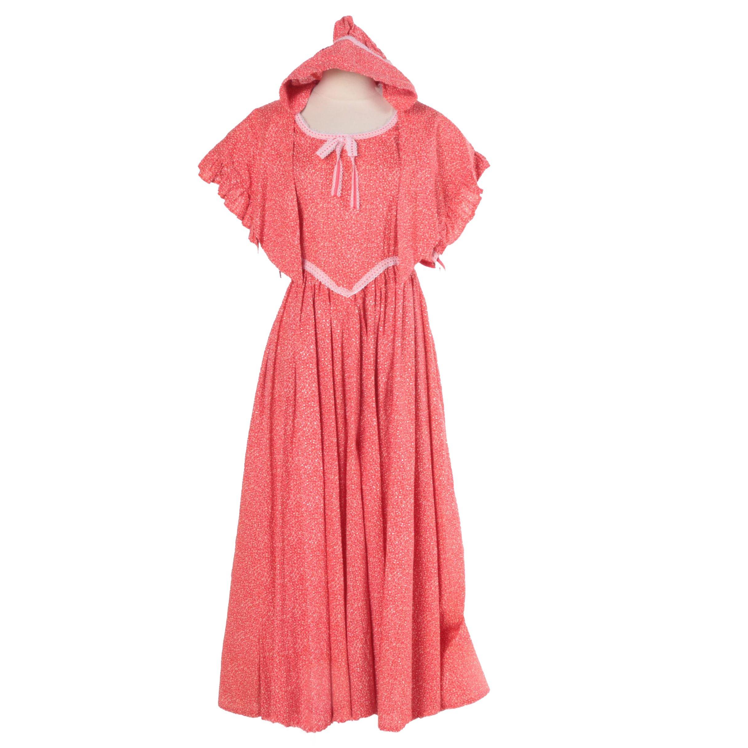 Women's Prairie Dress, Capelet and Bonnet