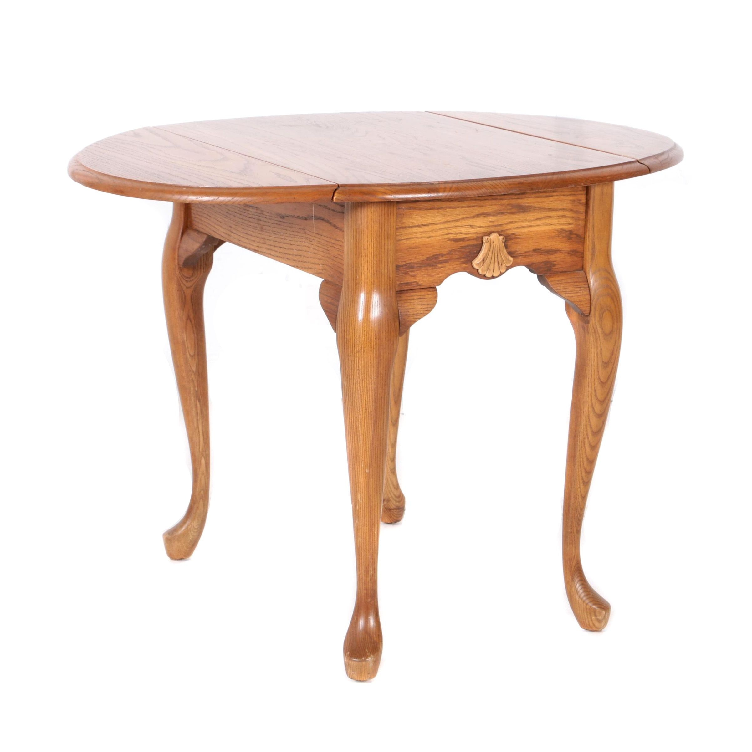 Queen Anne Style Oak Drop Leaf Side Table