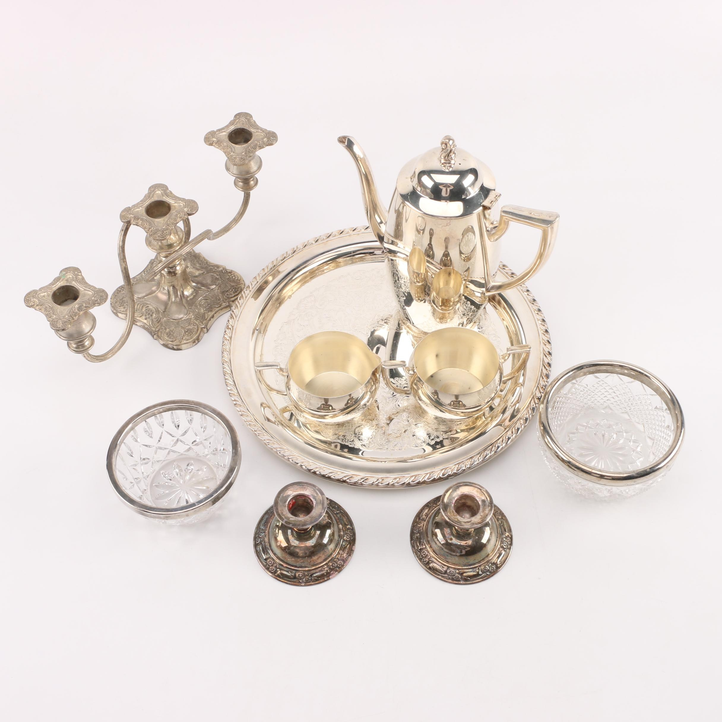 Oneida Silver Plate Coffee Service with Silver Plate Candlesticks and Tableware