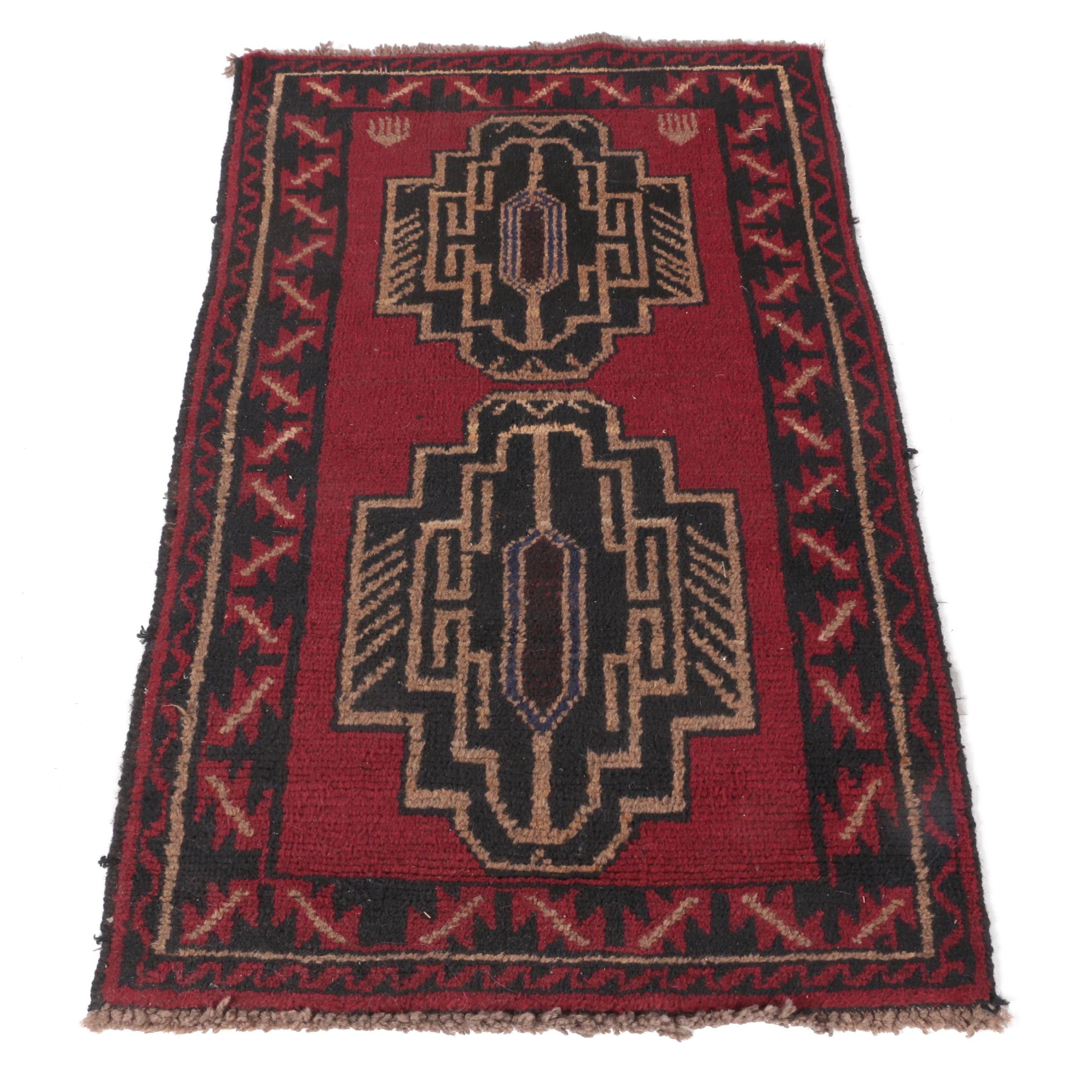 Vintage Hand-Knotted Caucasian Accent Rug