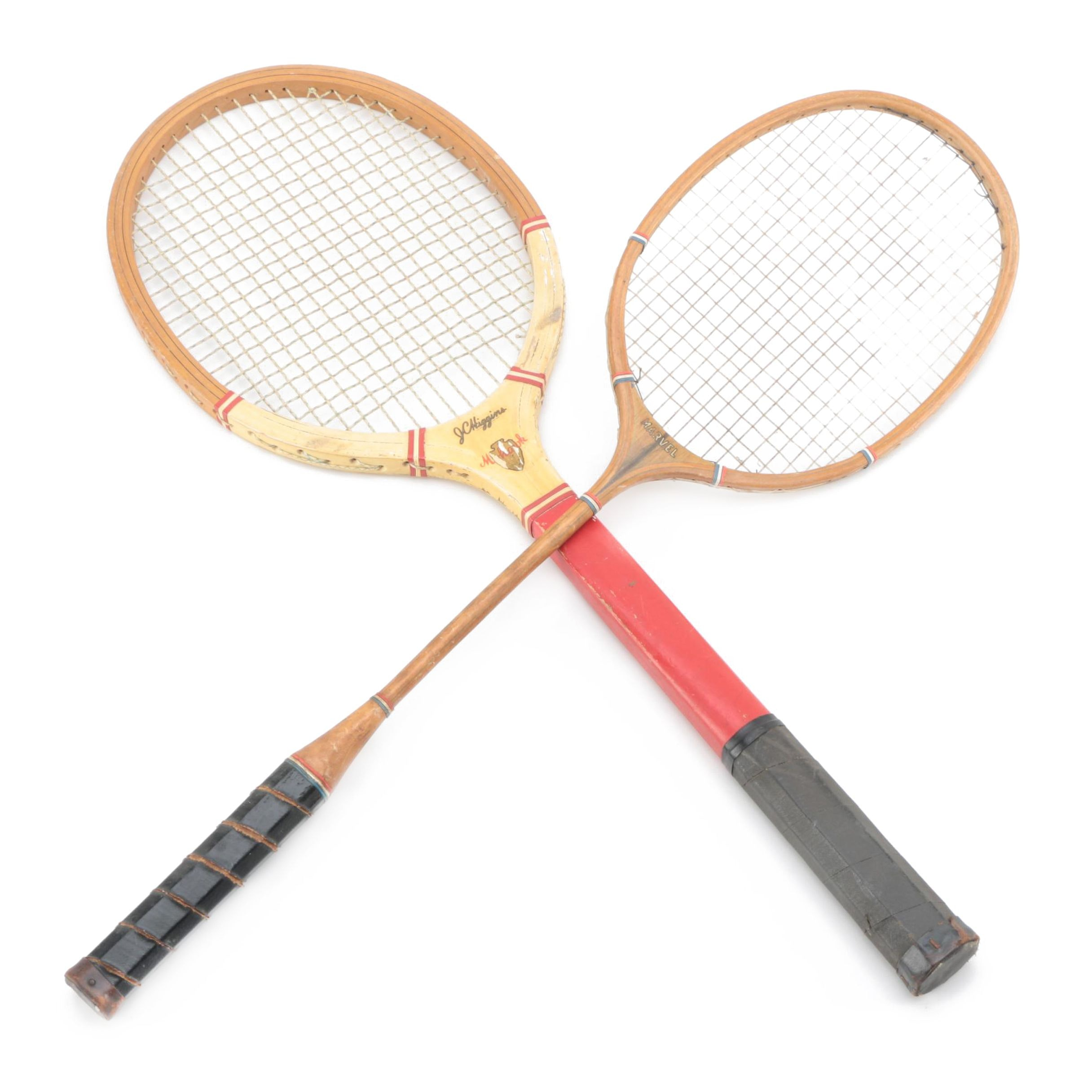 J.C. Higgins Mohawk Tennis Racket and Marvel Badminton Racket