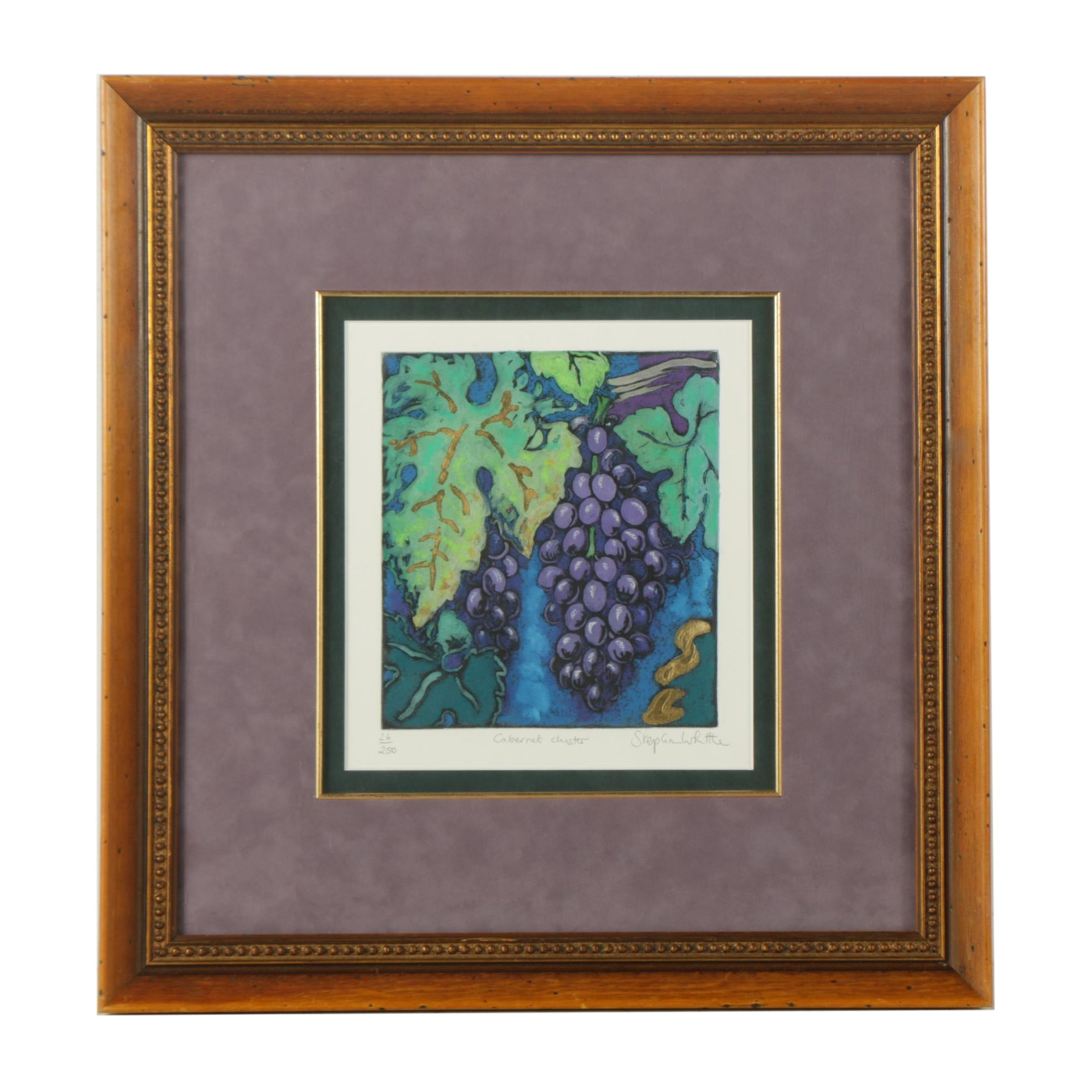"""Stephen Whittle Limited Edition Mixed Media Print on Paper """"Cabernet Cluster"""""""