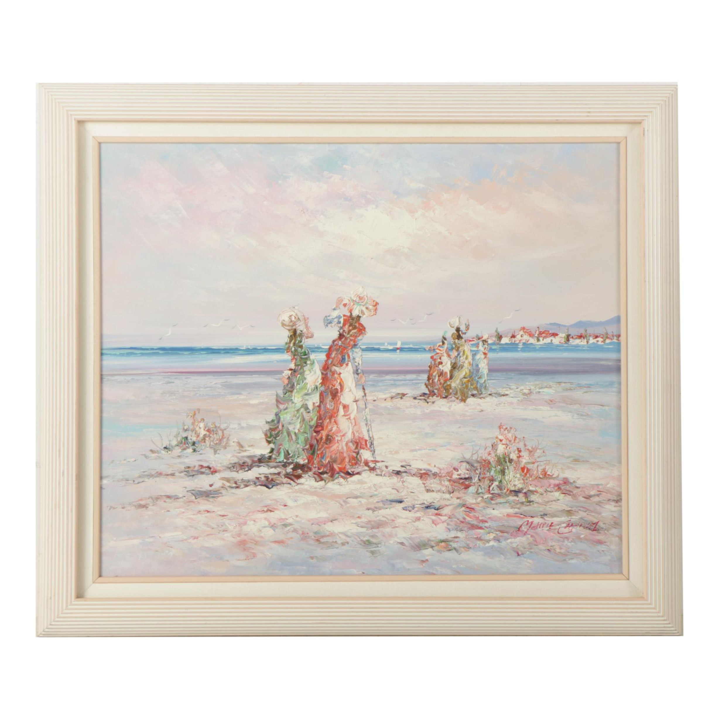 "Marie Charlot Oil Painting on Board ""Ladies by the Sea"""