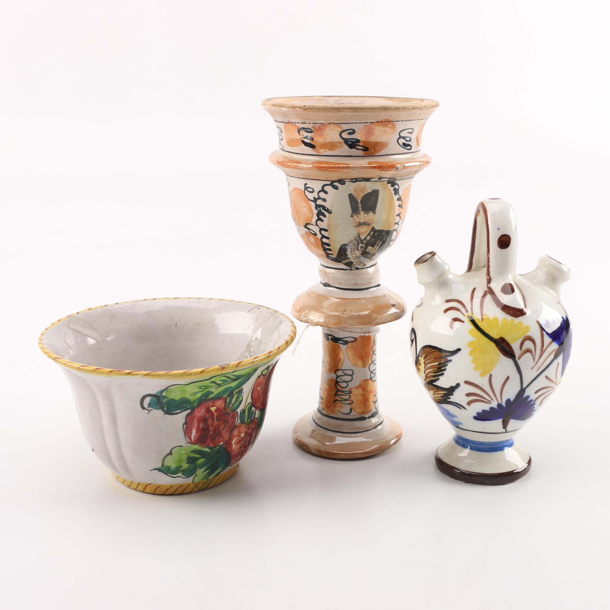 Vintage Hand-Painted Art Pottery Vessels