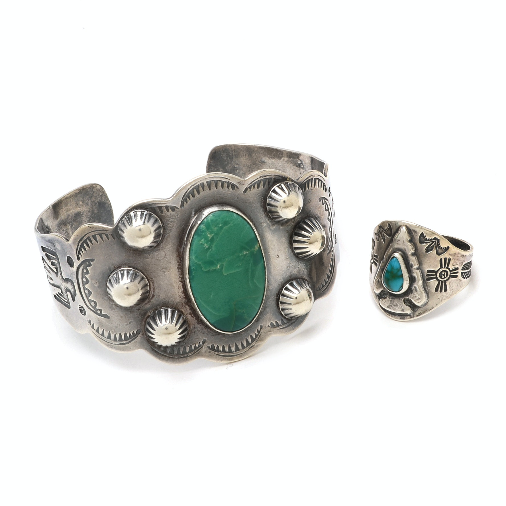 Sterling Silver Southwestern Style Bracelet and Ring