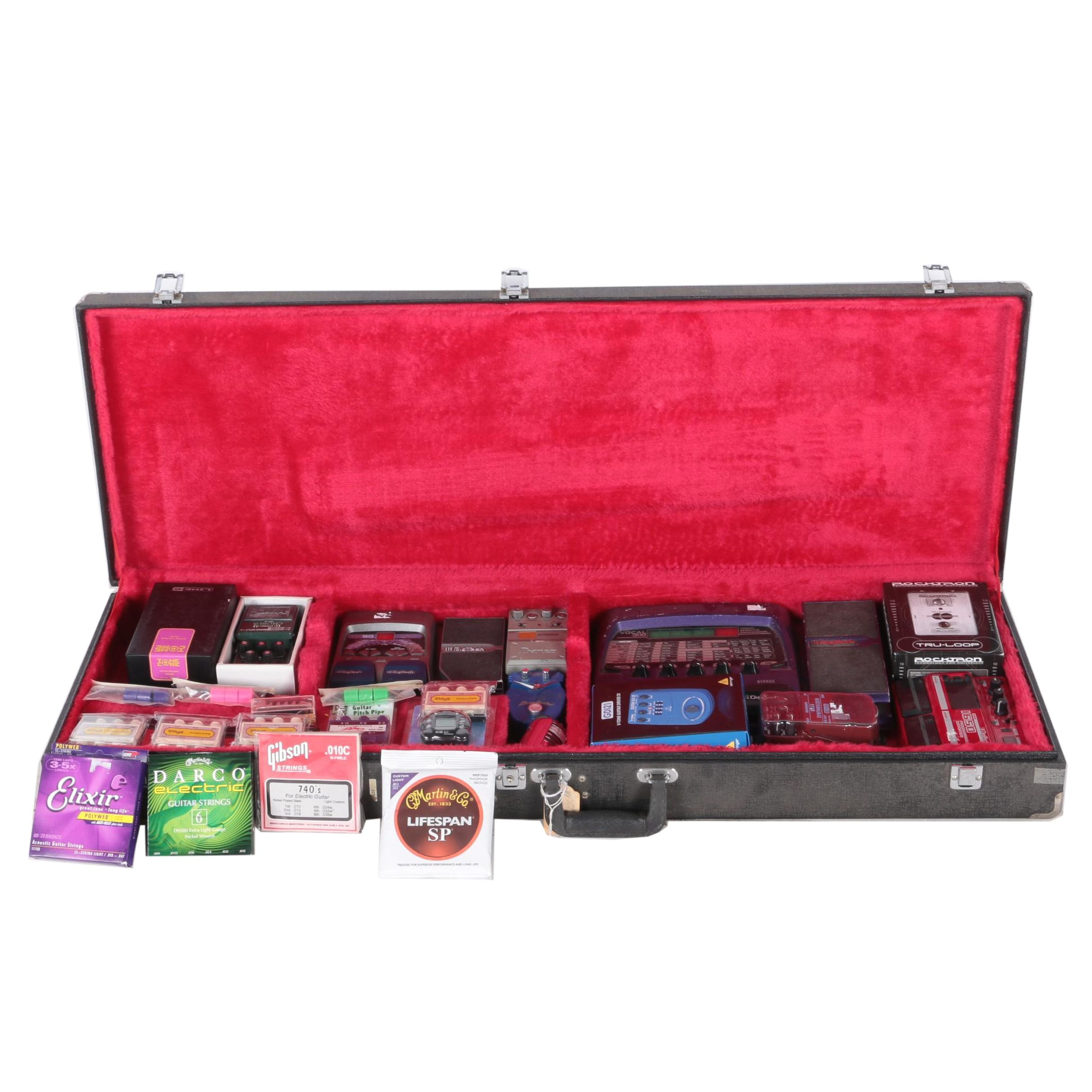 Case with Musical Equipment and Guitar Accessories