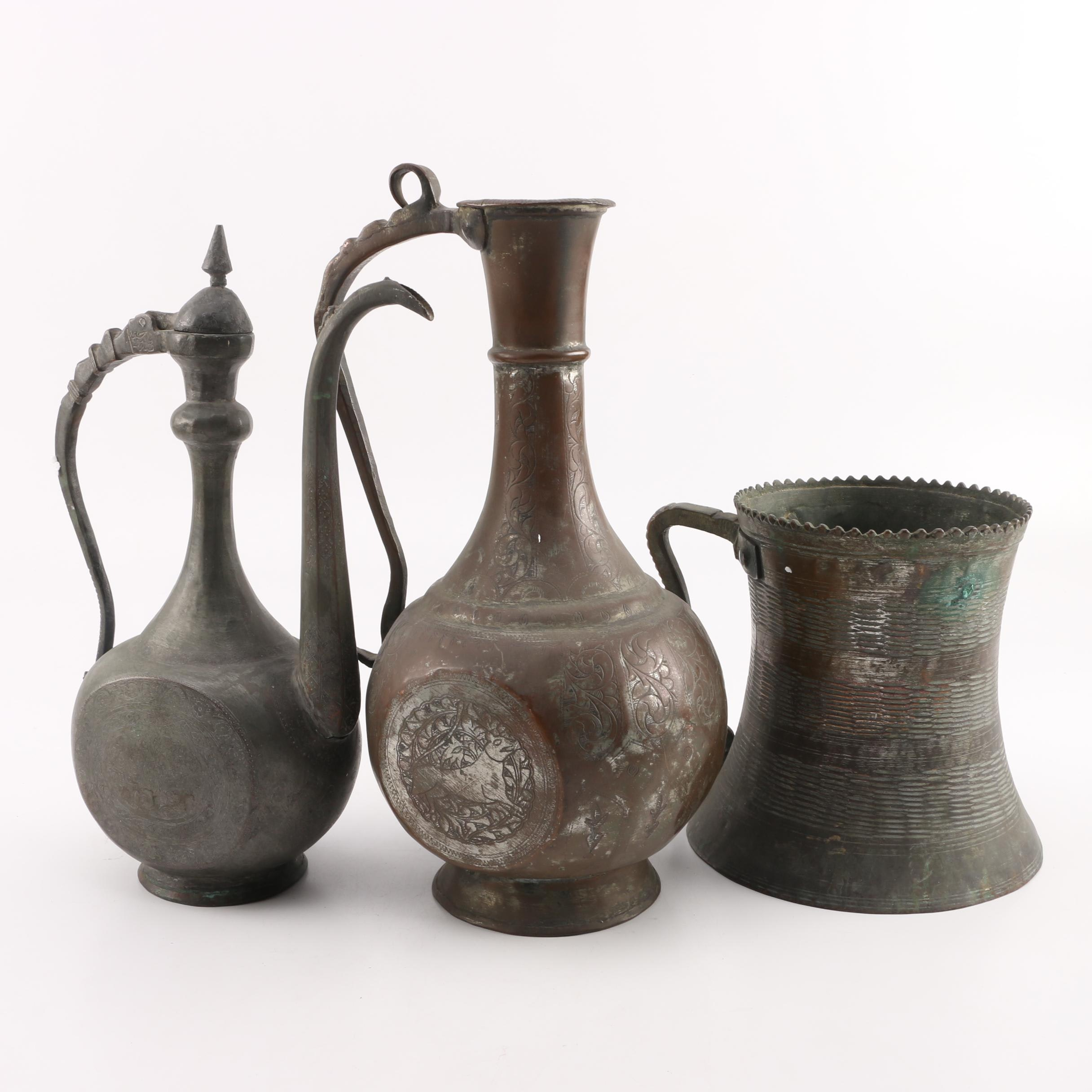 Antique Persian Coffee Pot, Ewer and Tankard