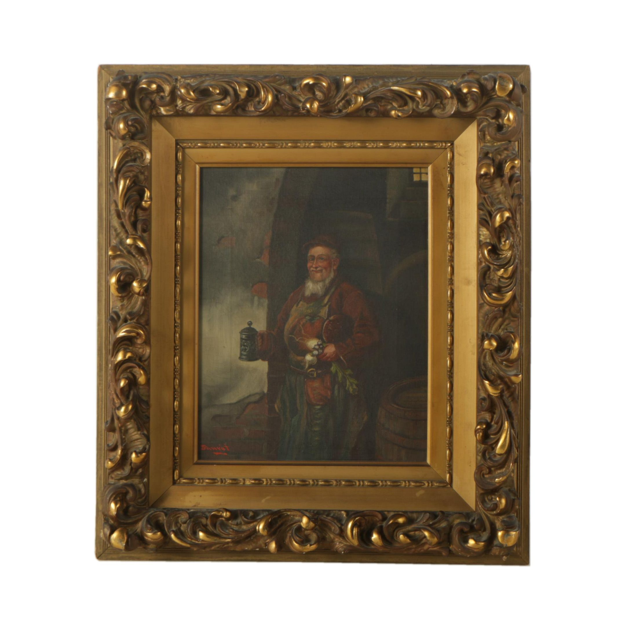 Sauret Oil on Canvas Painting of a Happy Man with Food and Drink