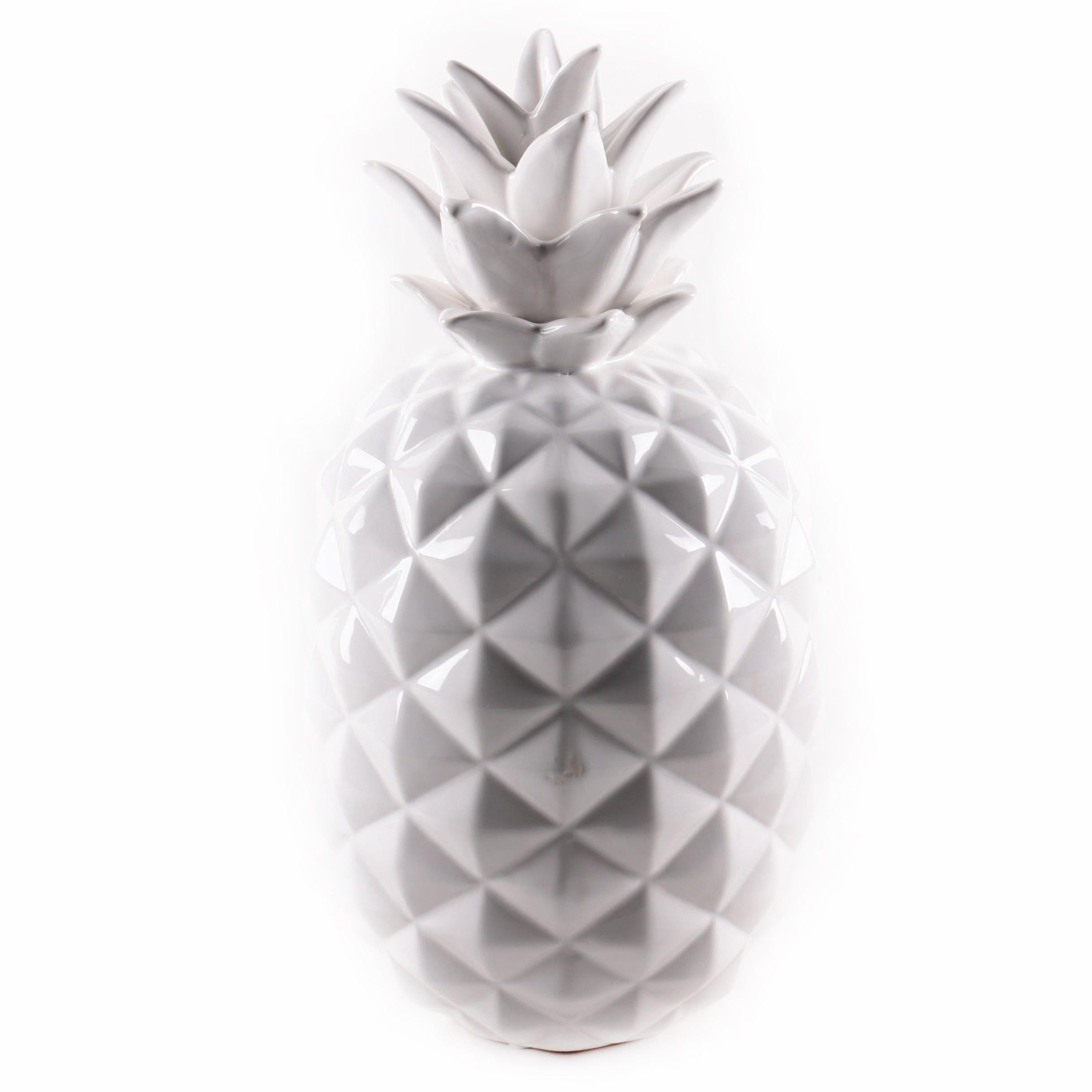 Glazed White Ceramic Decorative Pineapple