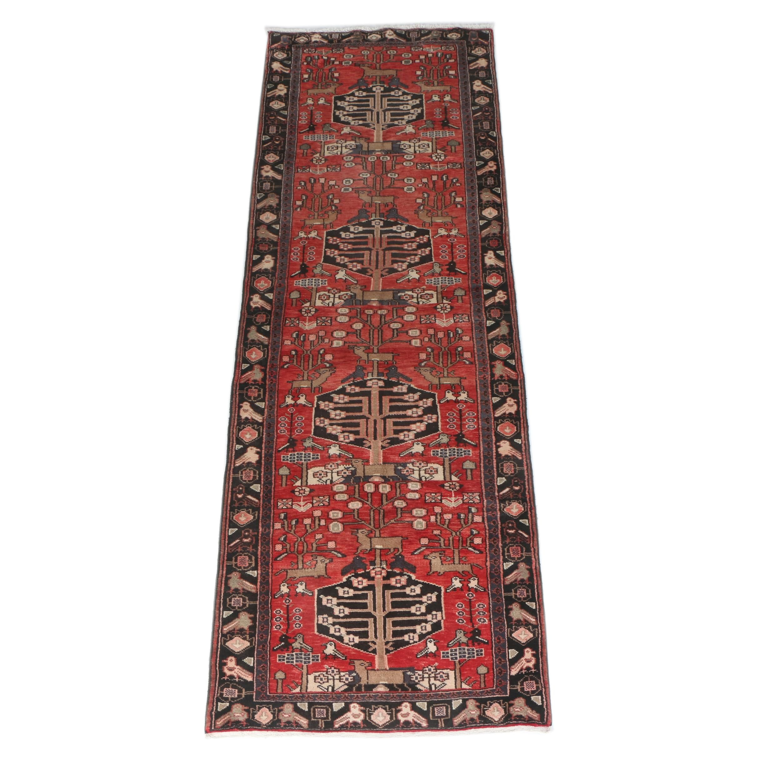 Hand-Knotted Persian Hamadan Pictorial 'Tree of Life' Runner