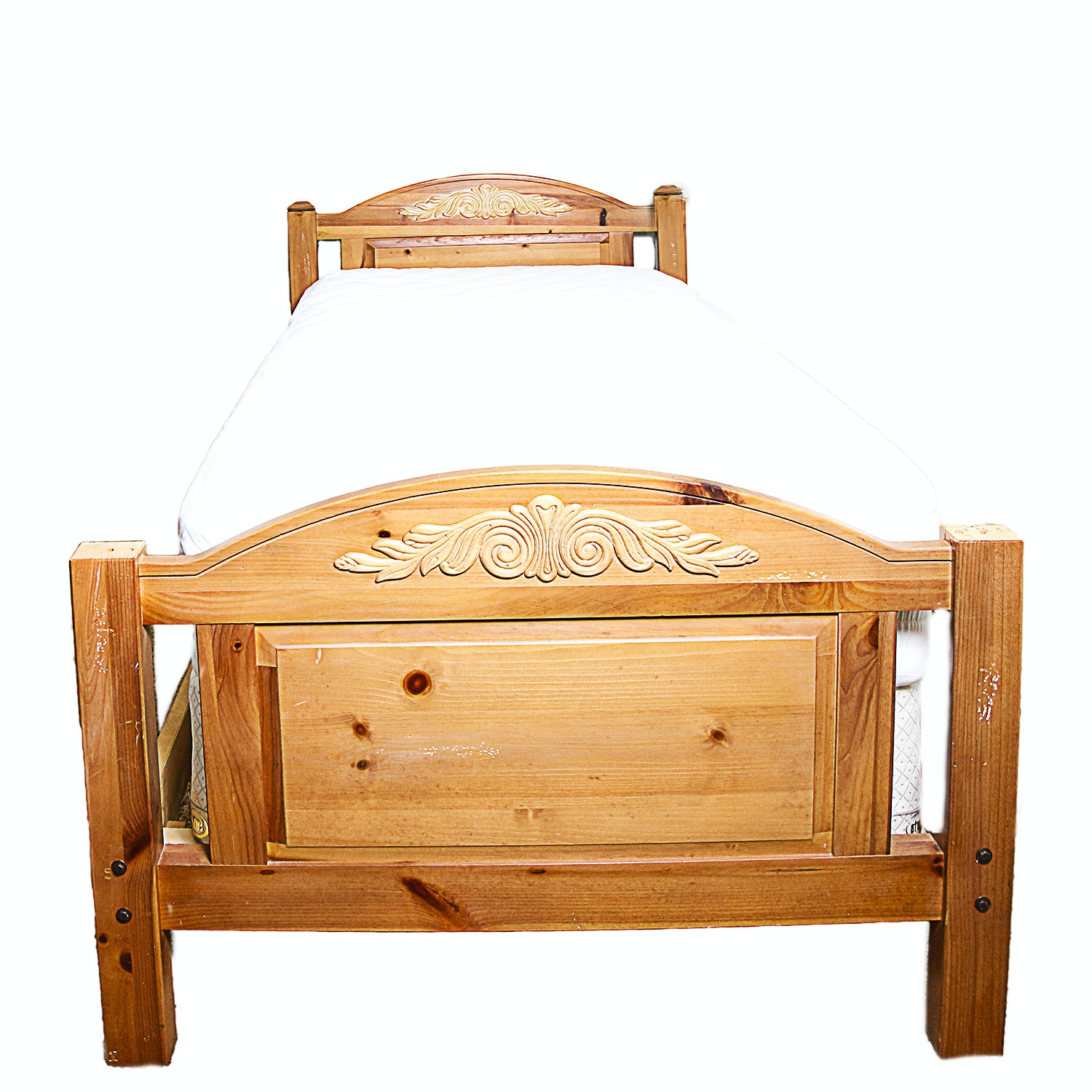 Knotty Pine Twin-Size Bed Frame
