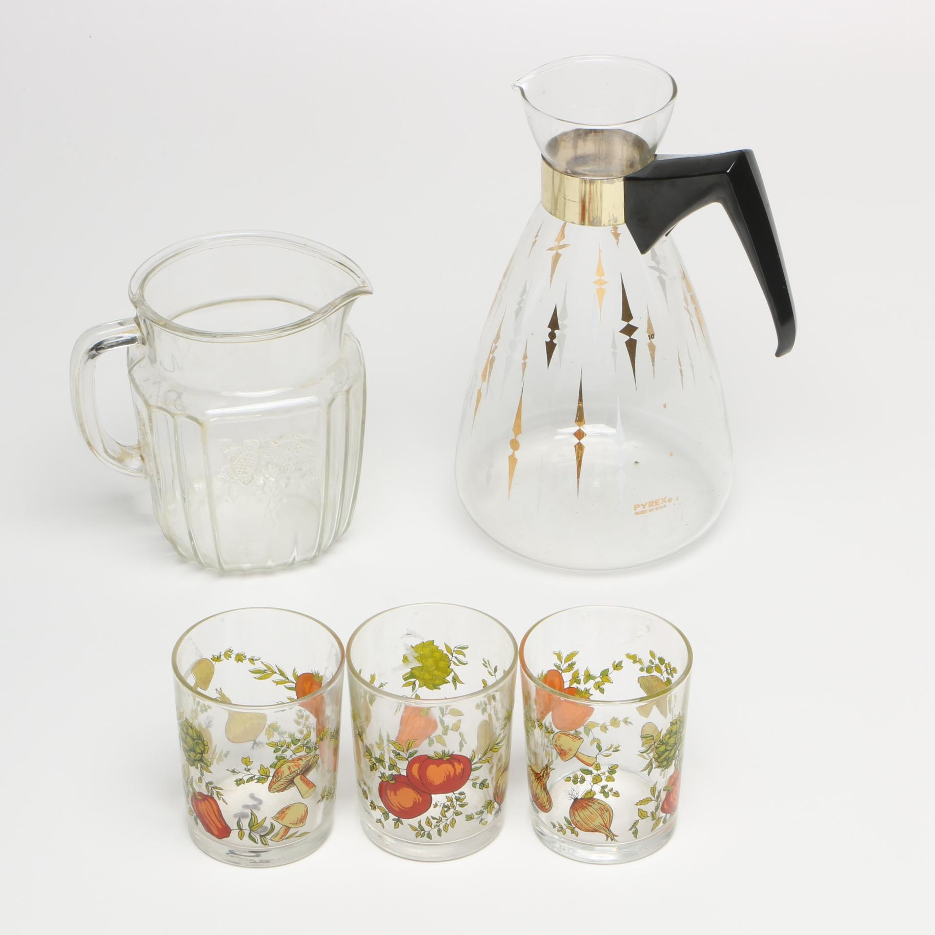 Vintage Pyrex Coffee Decanter and Other Glass Tableware