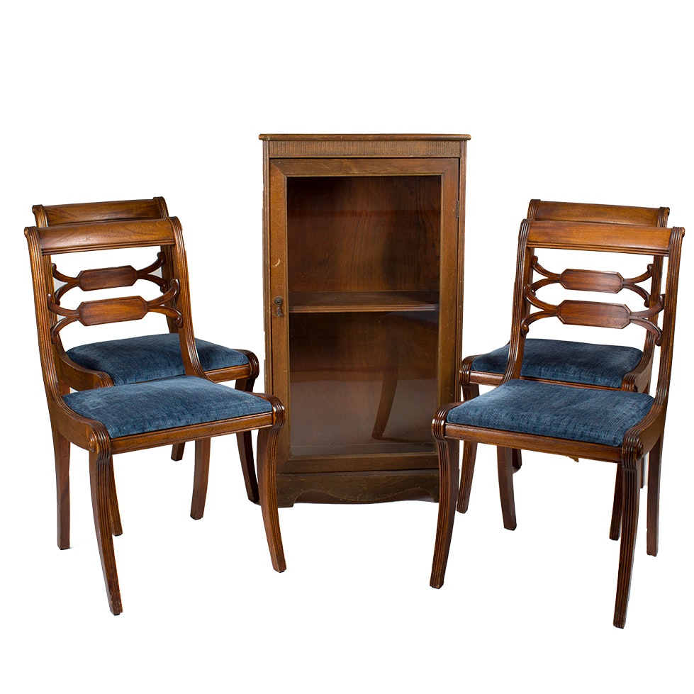 Four Hepplewhite Style Upholstered Dining Chairs and Wooden Display Shelf