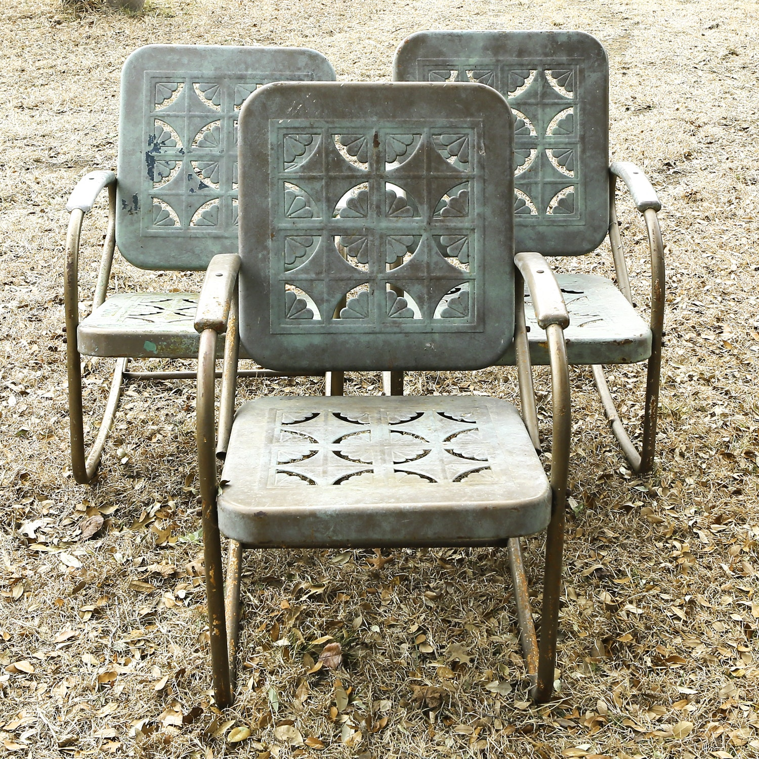 Mid-Century Metal Porch Chairs with Pie Crust Design