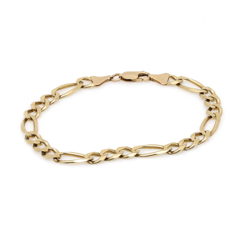 10K Yellow Gold Figaro Chain Bracelet