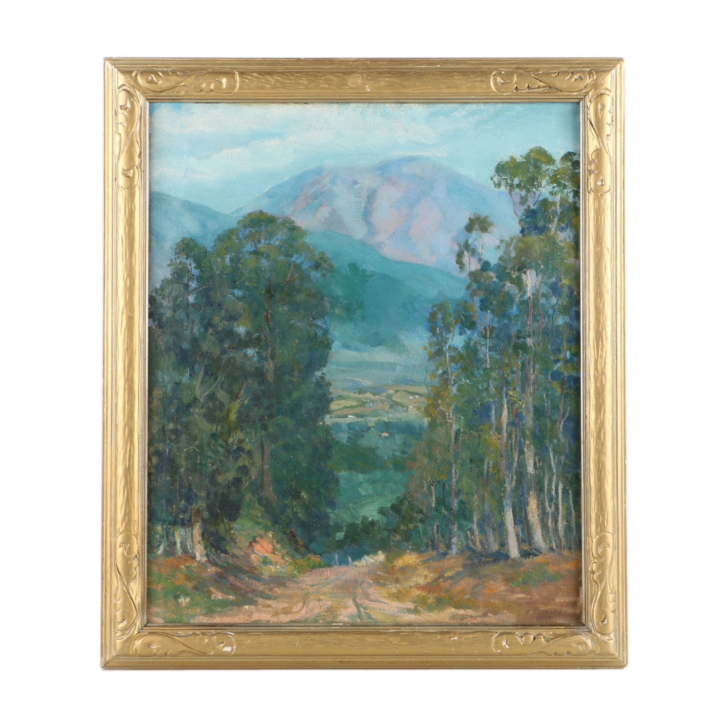 F. Brunish 1935 Oil Painting on Canvas of Mountain Landscape Scene