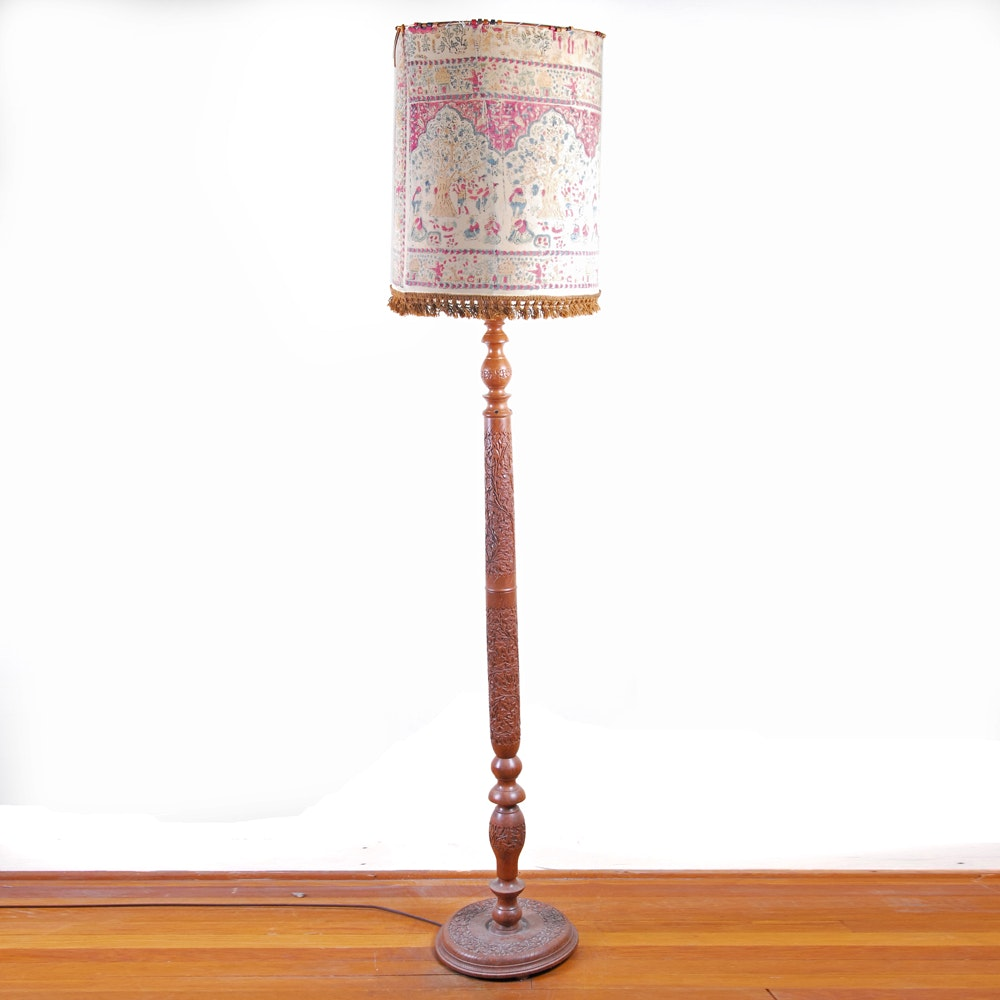Vintage Indian Carved Wooden Floor Lamp Ebth
