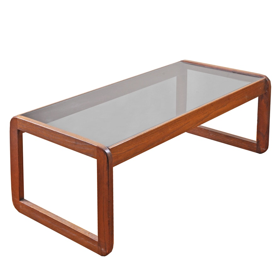 Charles Modern 47 Square Glass Top Coffee Table W: Mid Century Modern Walnut And Glass Coffee Table