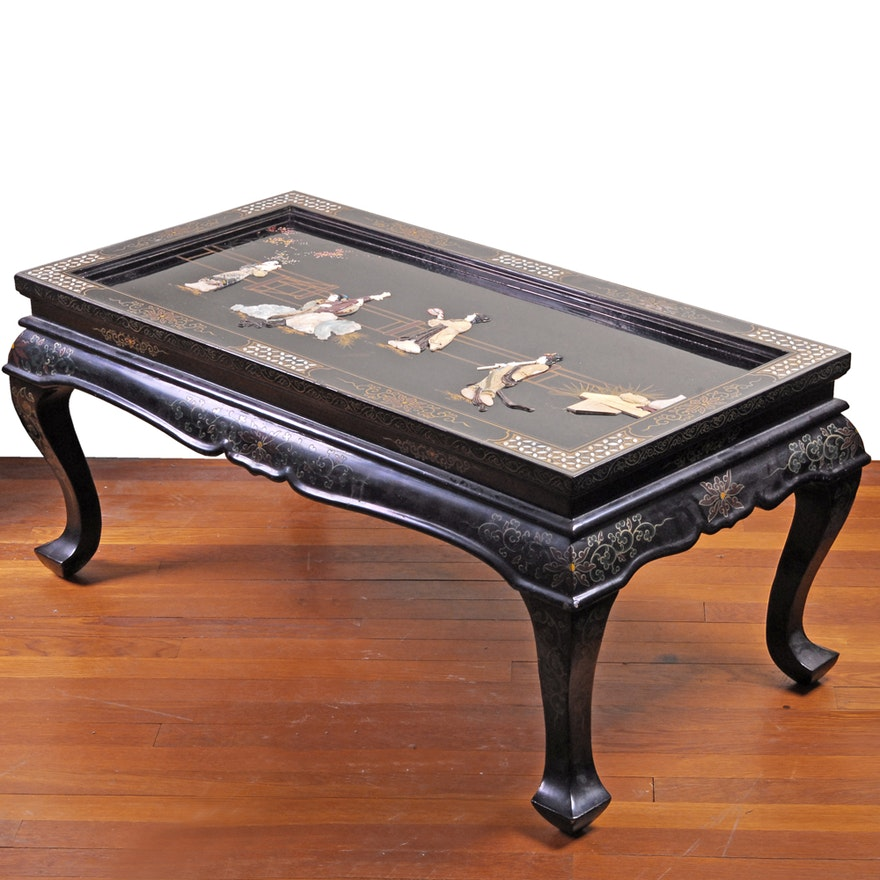 Chinese Coffee Table With Abalone Ebth