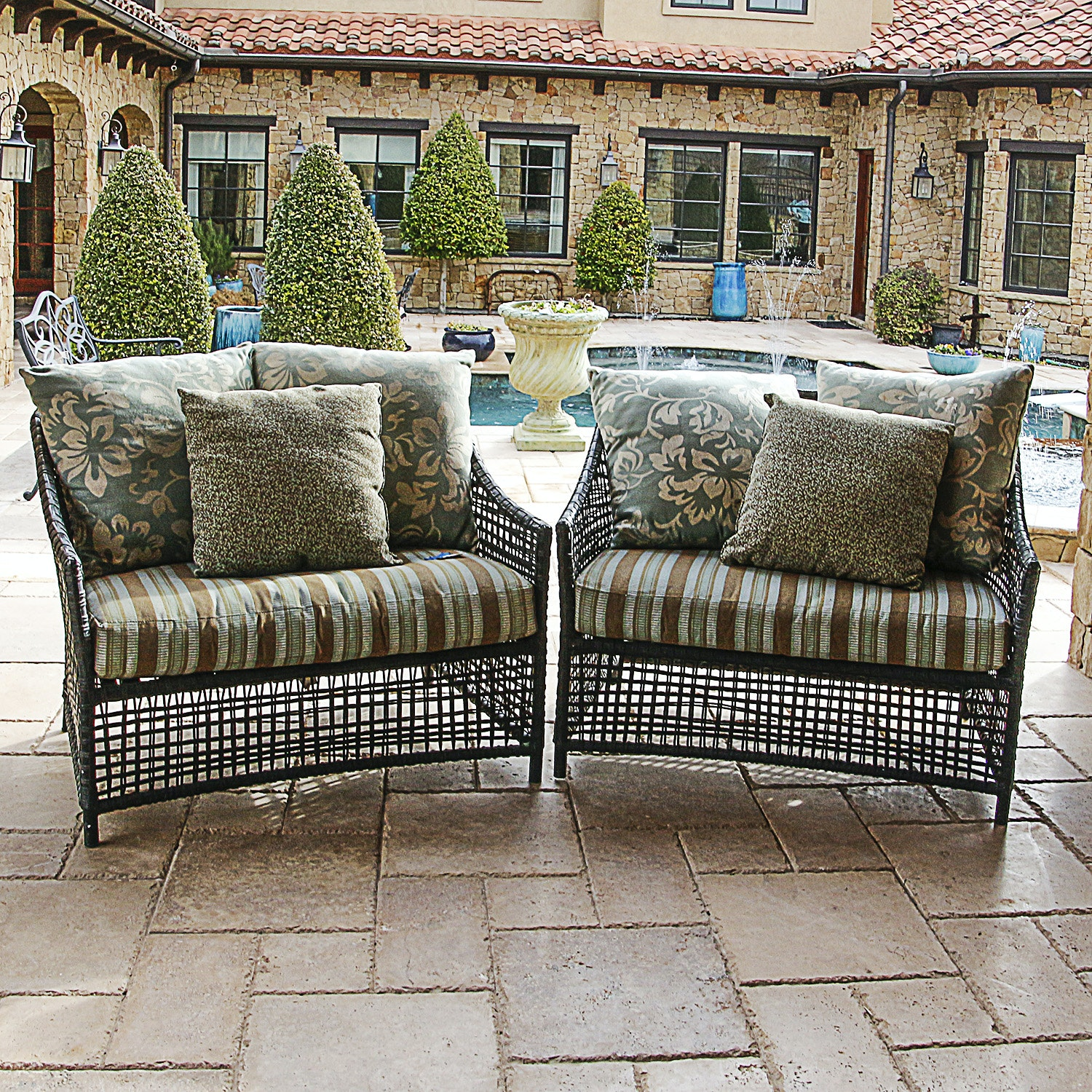 Pair of Oversized Wicker Patio Chairs with Cushions
