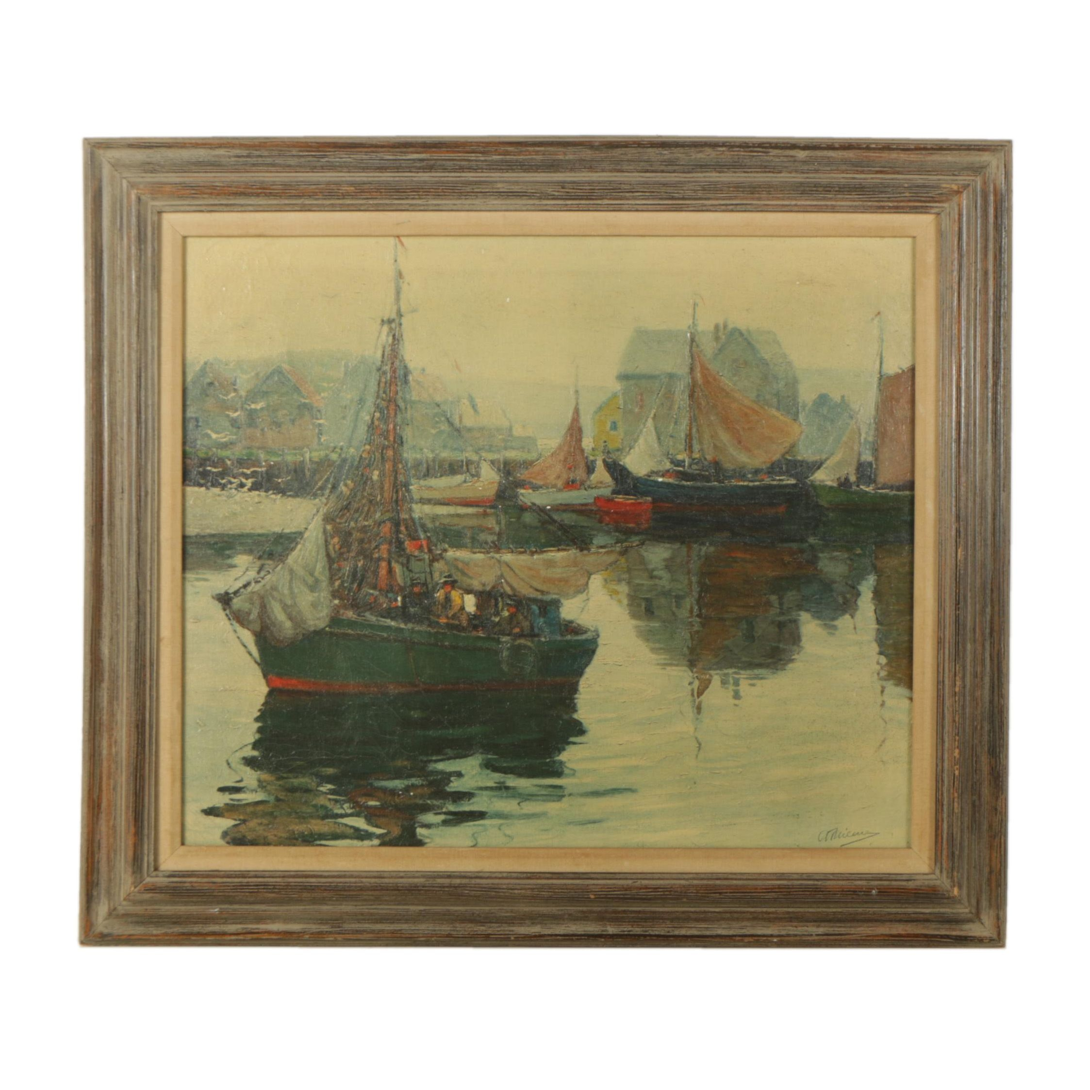 Embellished Giclee on Canvas After Anthony Thieme Harbor Scene