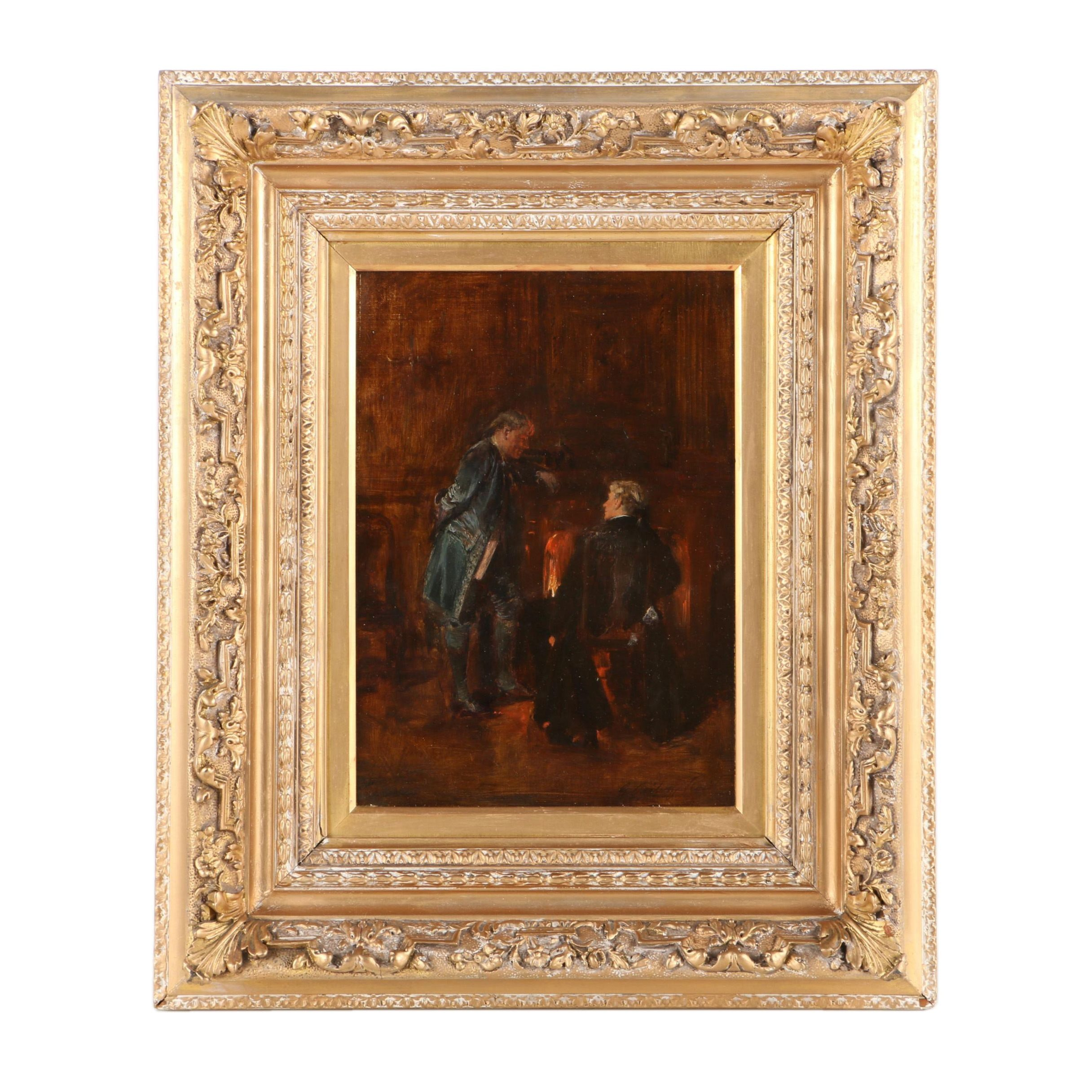 George Ogilvy Reid Oil Painting on Canvas of Two Men Next to Hearth