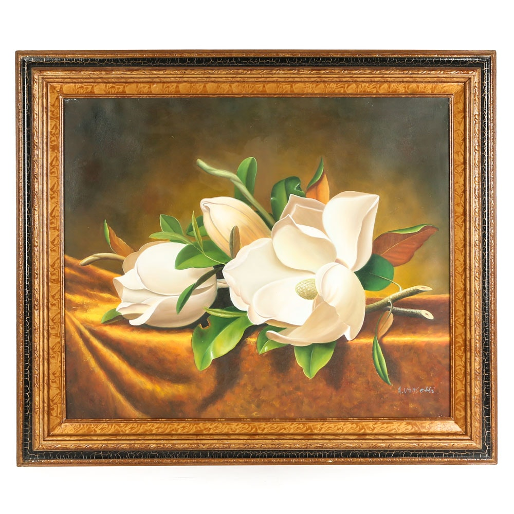 Original Acrylic on Canvas Magnolia Still Life by A. Vinsetti