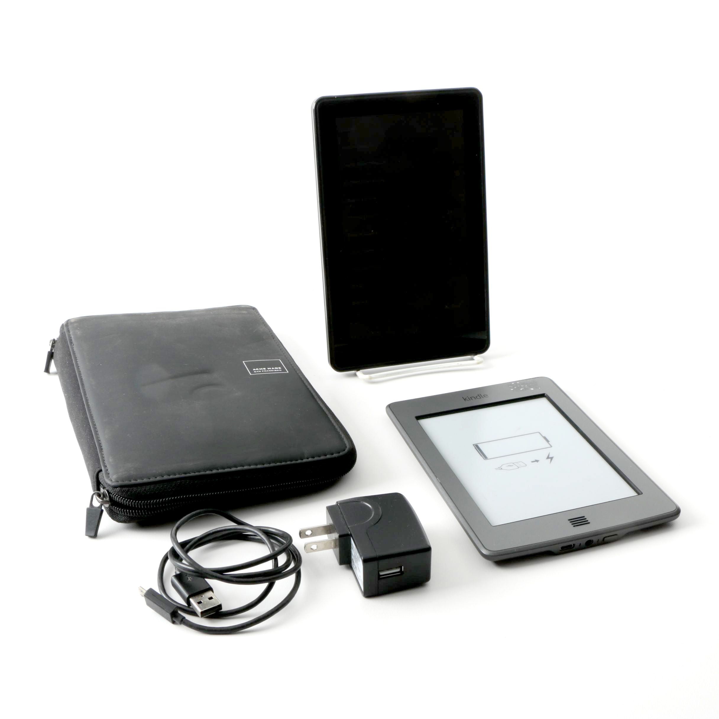 "Amazon Kindle ""Fire"" And ""Nook"" Tablet and Book Reader with Case and Power Cord"