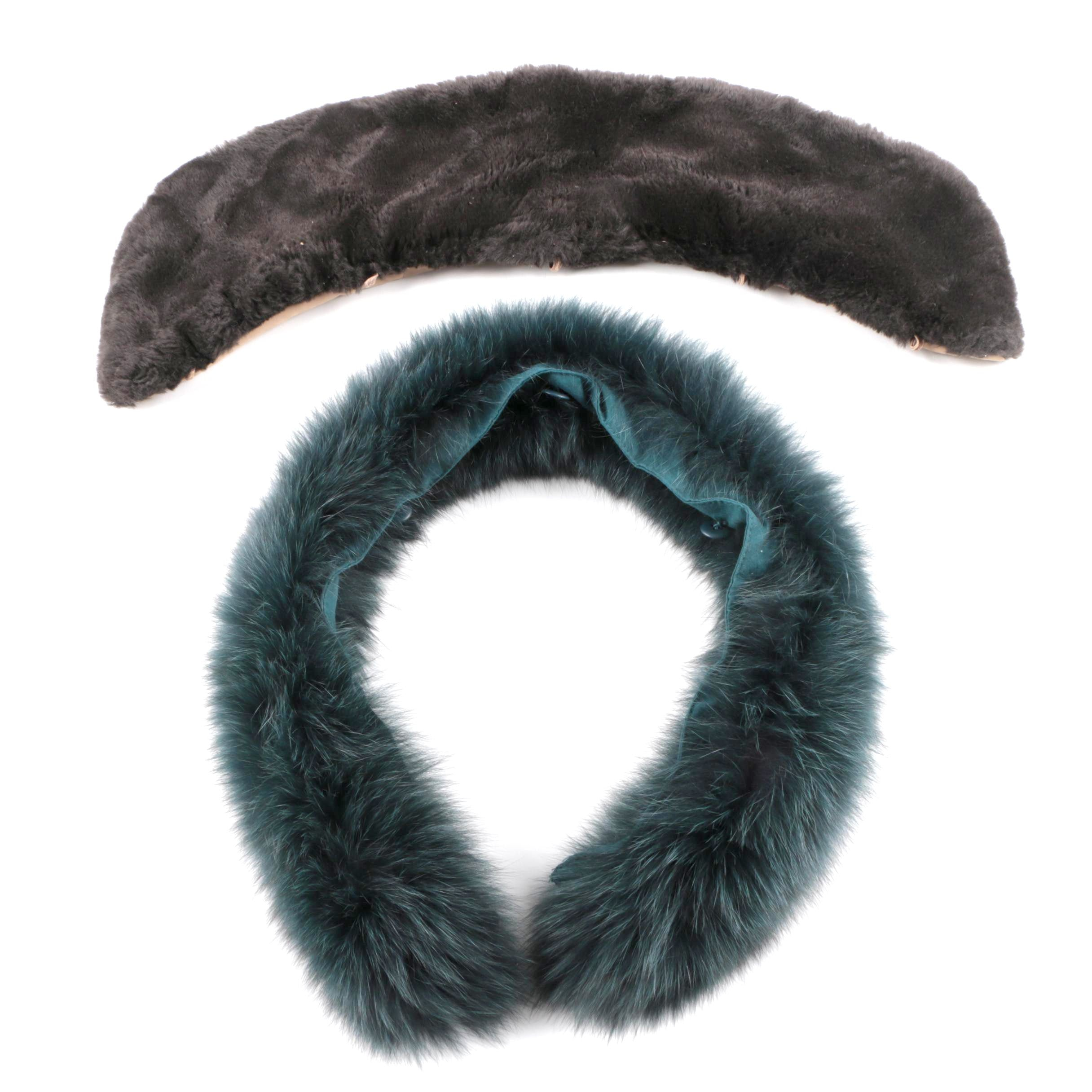 Fox Fur and Faux Fur Coat and Sweater Collars