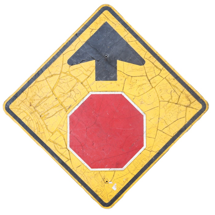 "Vintage ""Stop Sign Ahead"" Traffic Sign"