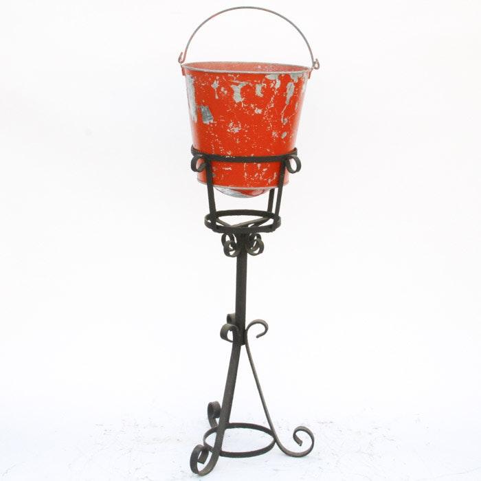 Vintage Fire Bucket Planter