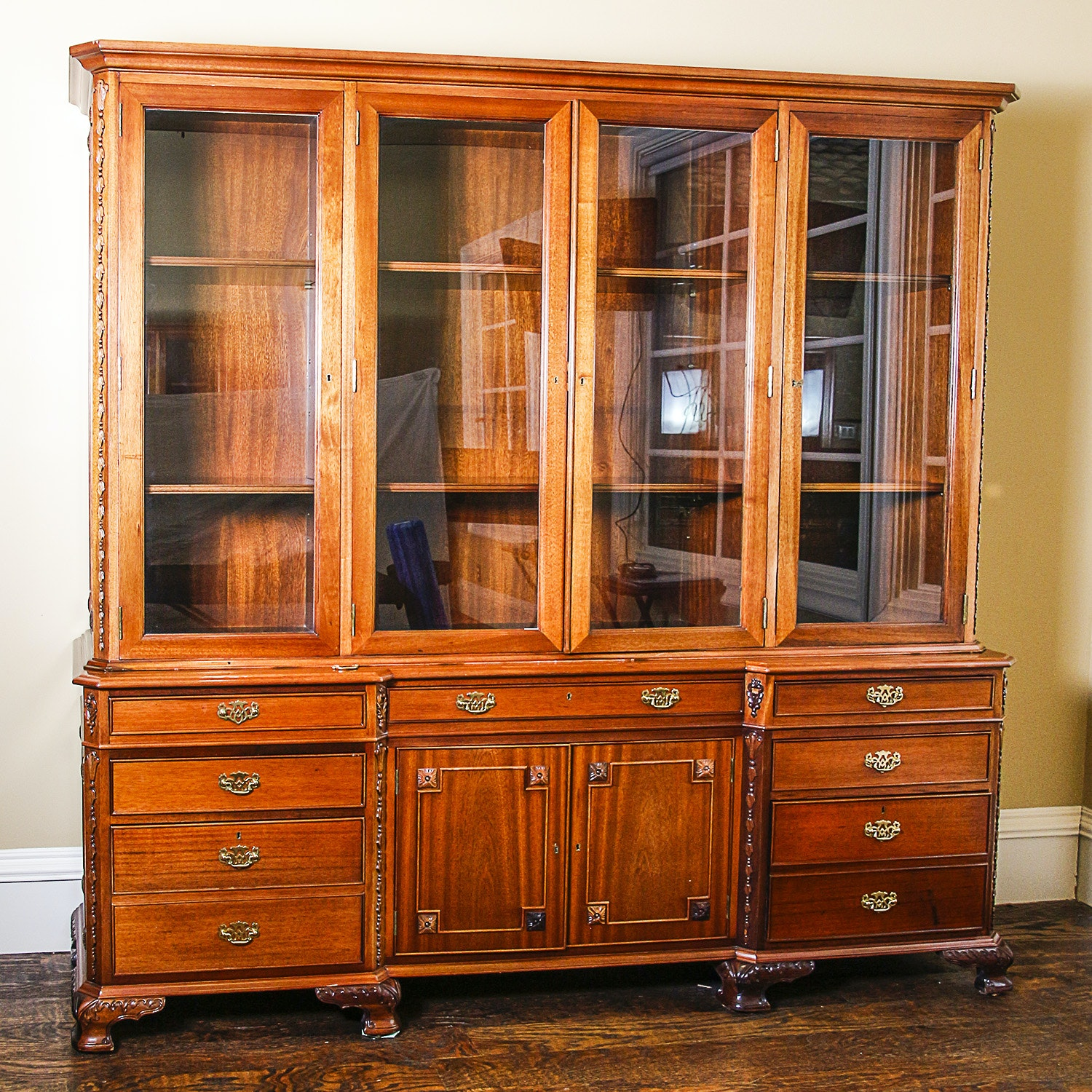 Traditional Style Walnut China Cabinet