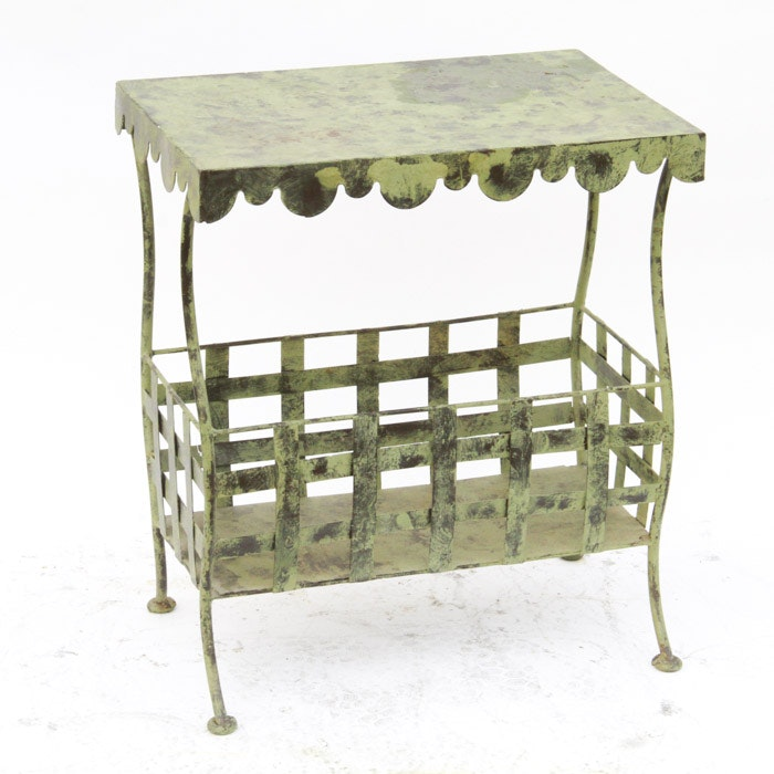 Metal Accent Table with Storage Compartment