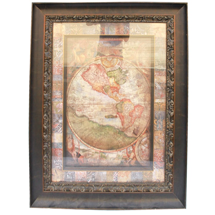 Reproduction Print of a Ancient World Map