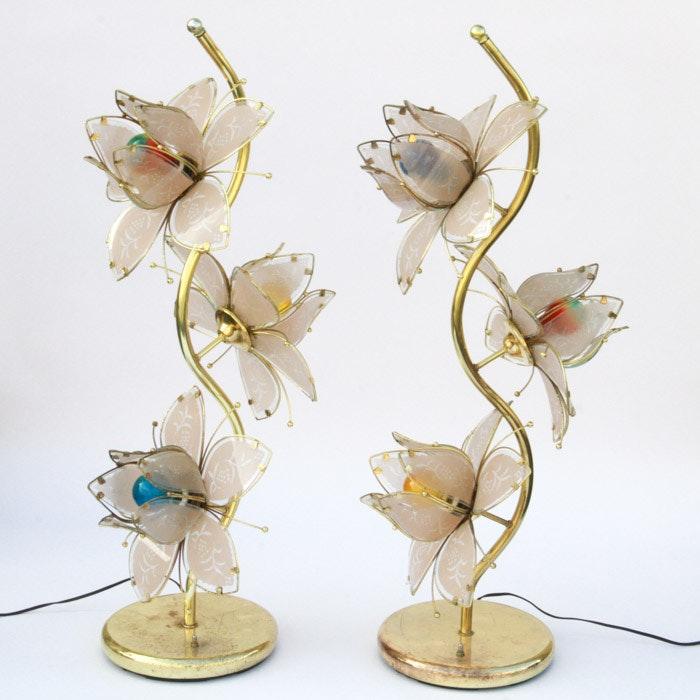 Vintage Mid-Century Lotus Flower Accent Lamps