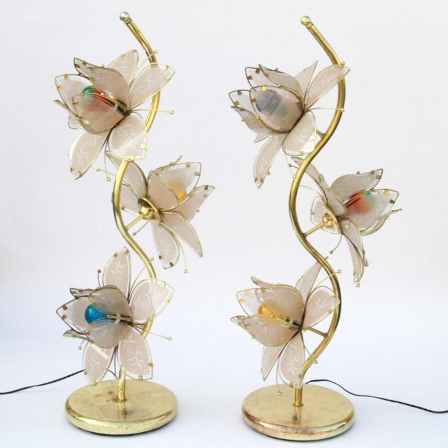Vintage Mid Century Lotus Flower Accent Lamps Ebth